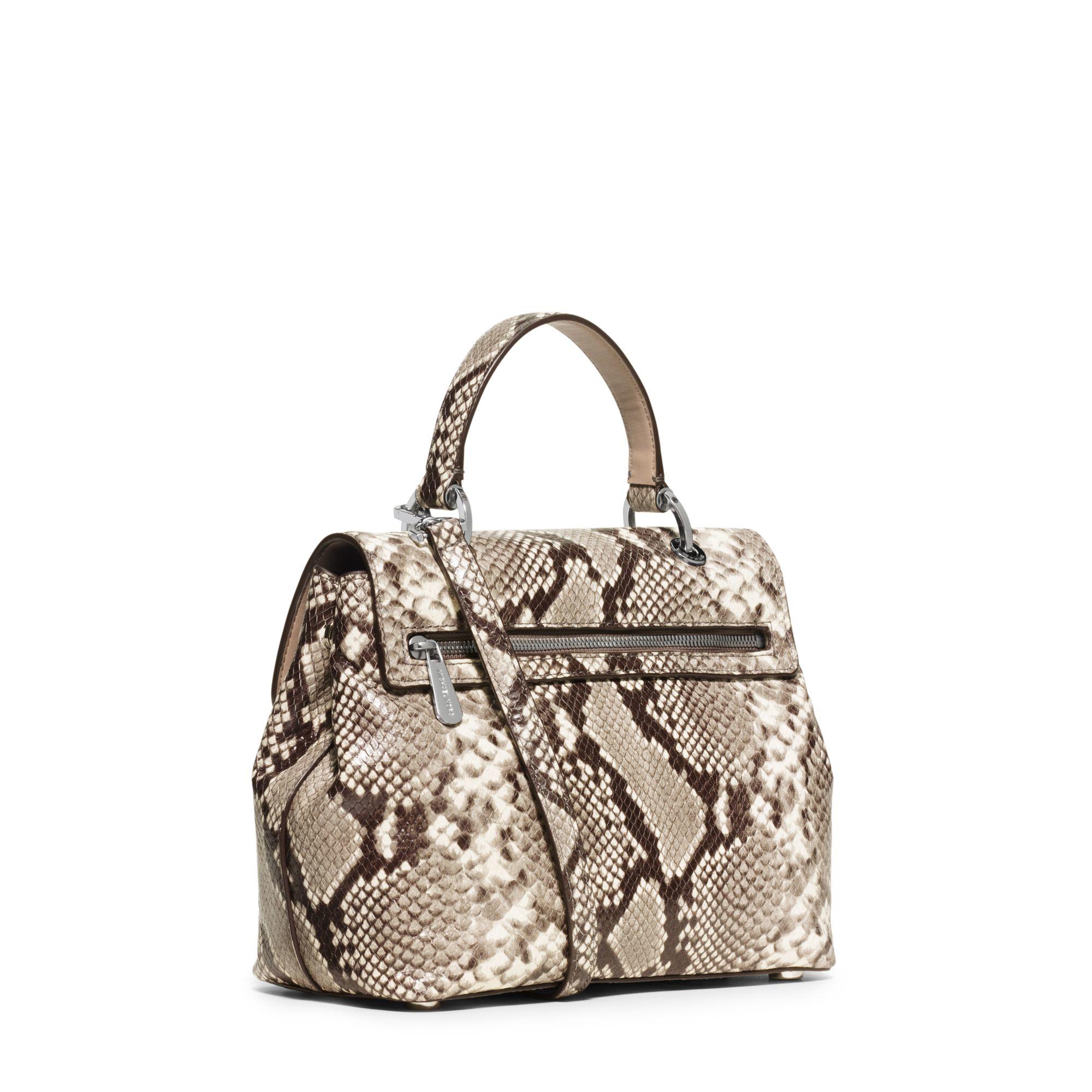 f1556c82b2c1 ... wholesale lyst michael kors emery medium embossed leather satchel in  natural 72e24 6dce5