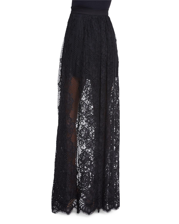 lucrenzia high waist lace maxi skirt in black lyst