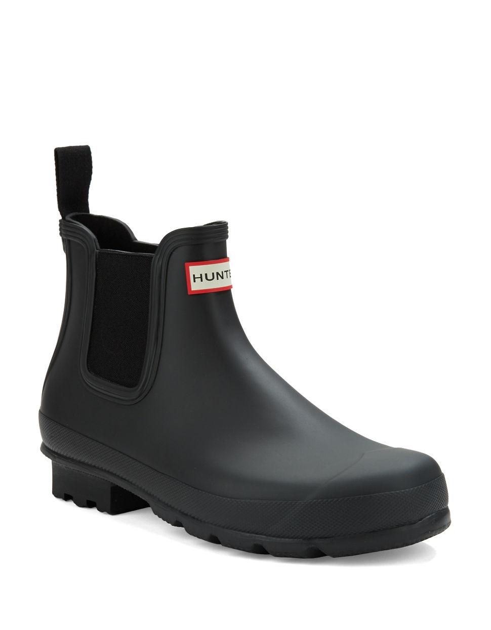 hunter chelsea rain ankle boots in black for men lyst. Black Bedroom Furniture Sets. Home Design Ideas