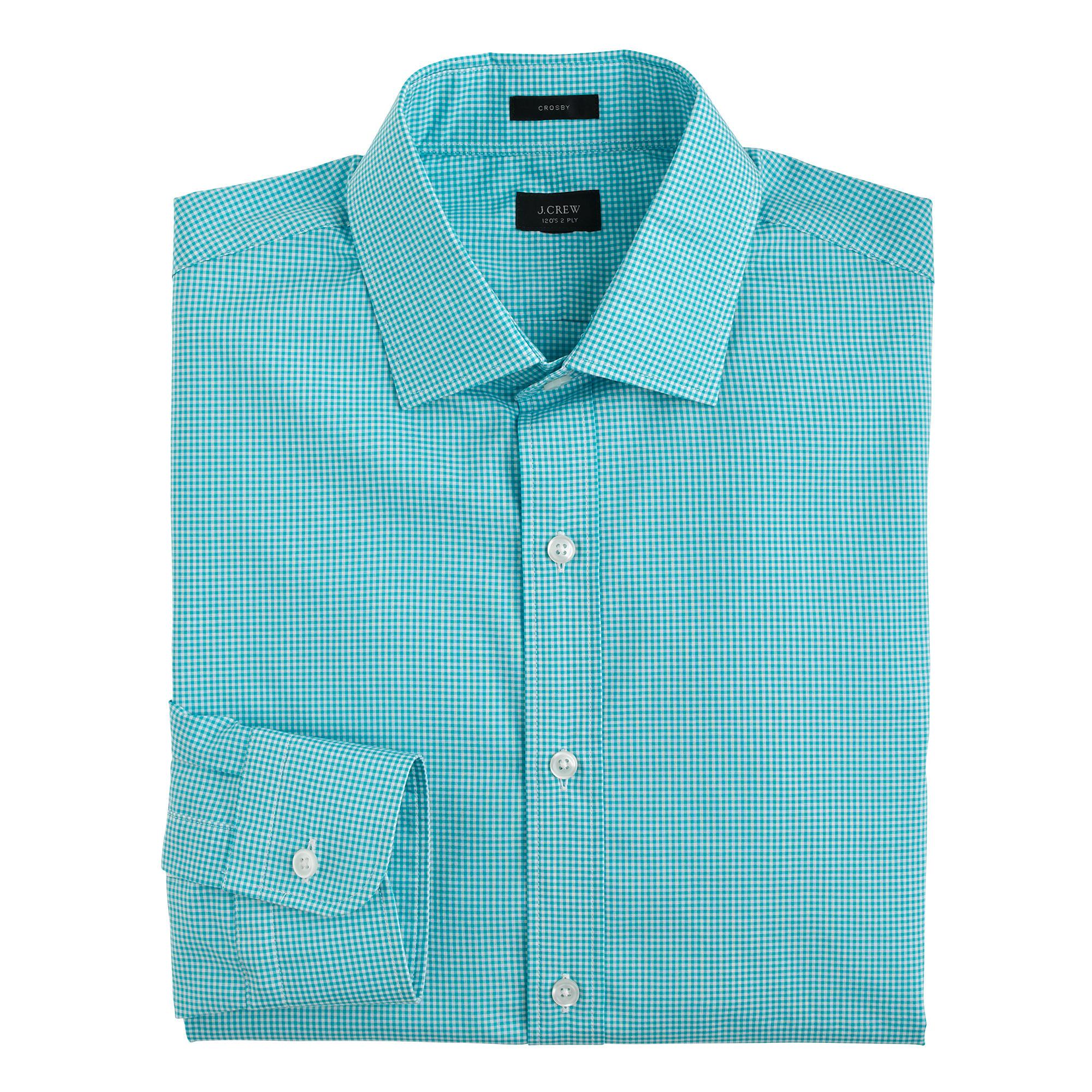 Crosby shirt in aqua gingham in blue for men lyst for Aqua blue mens dress shirt