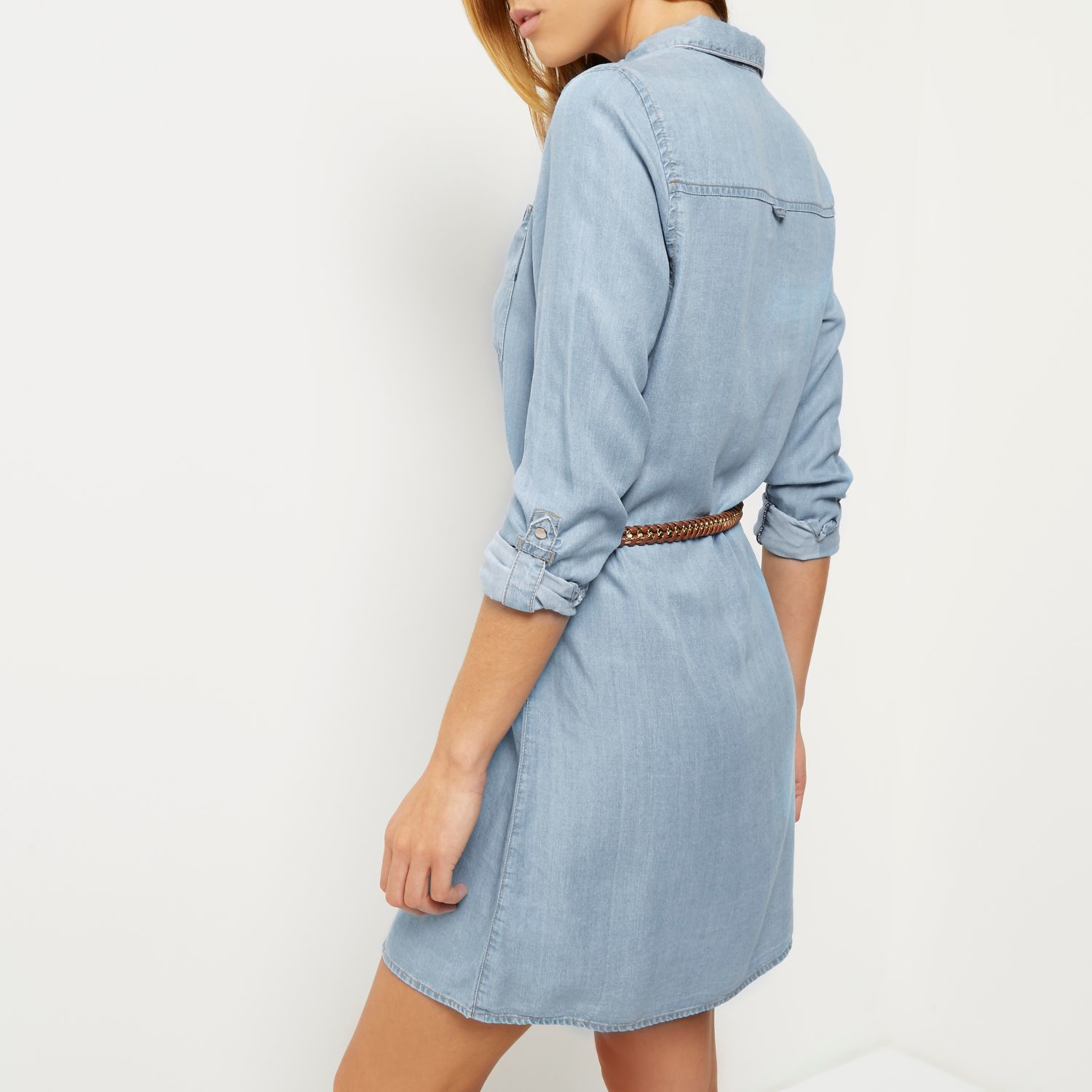 Lyst - River Island Light Blue Denim Shirt Dress in Blue