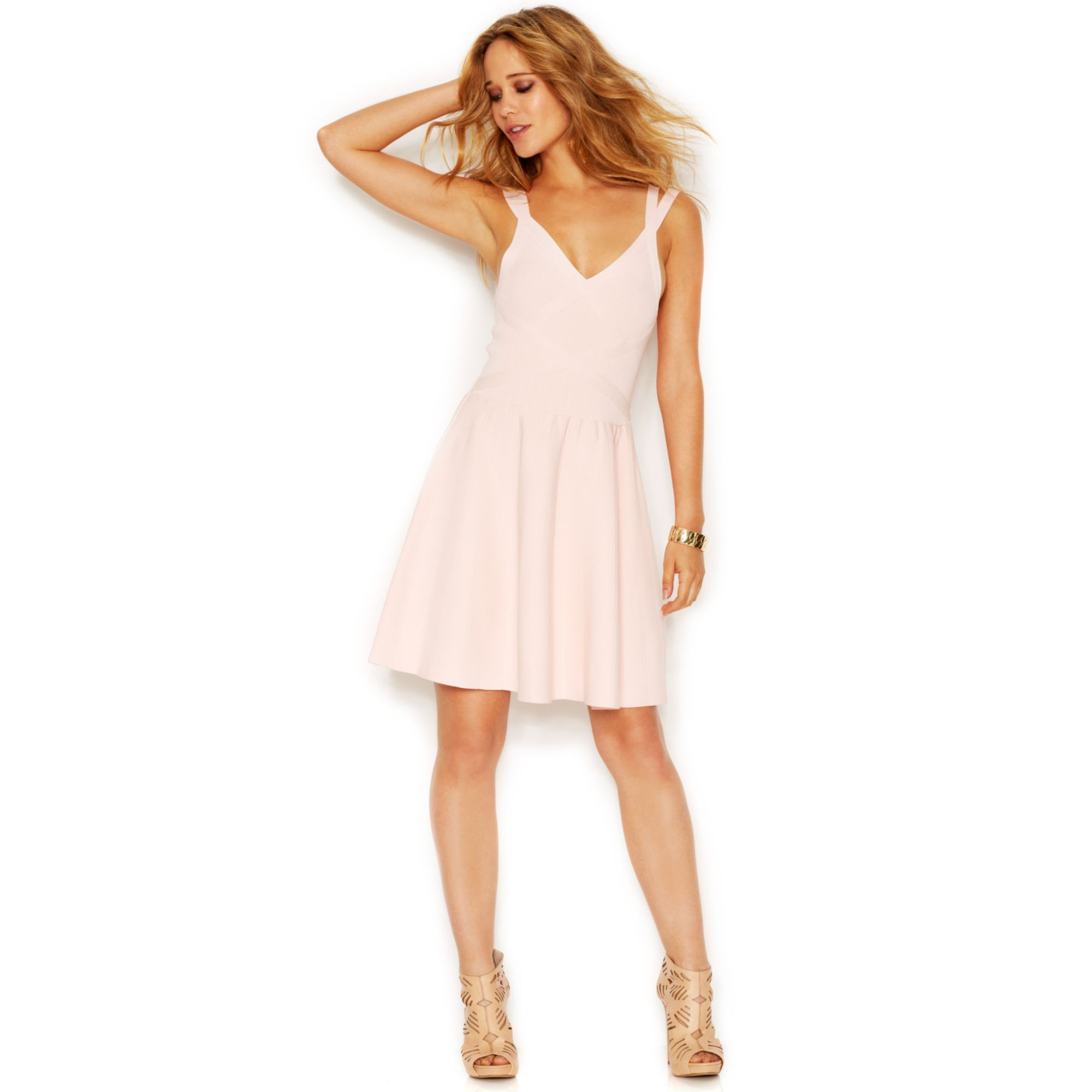 Guess Double Strap Flared Bandage Dress In Pink Iconic