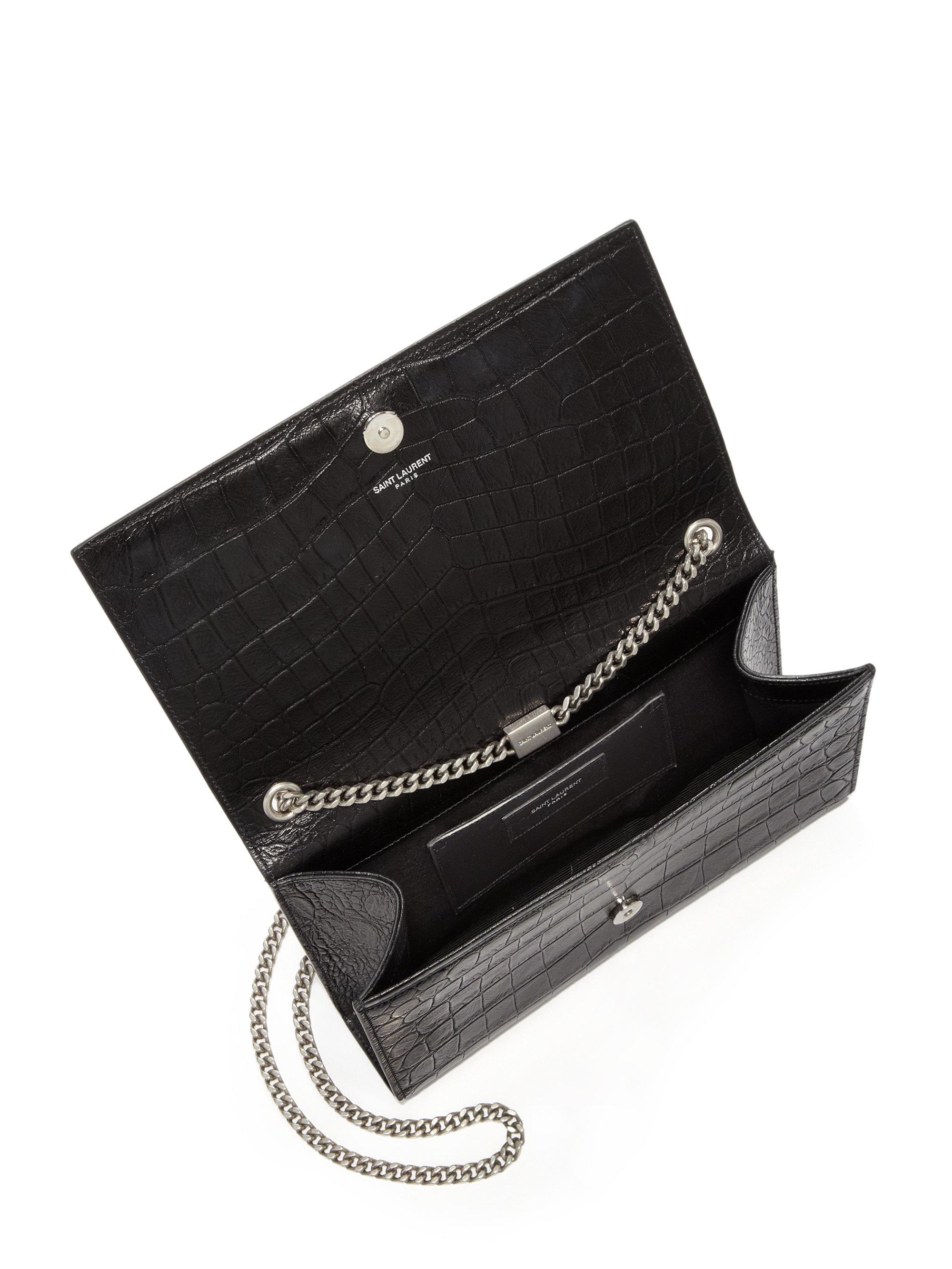 Lyst Saint Laurent Medium Monogram Croc Embossed Leather