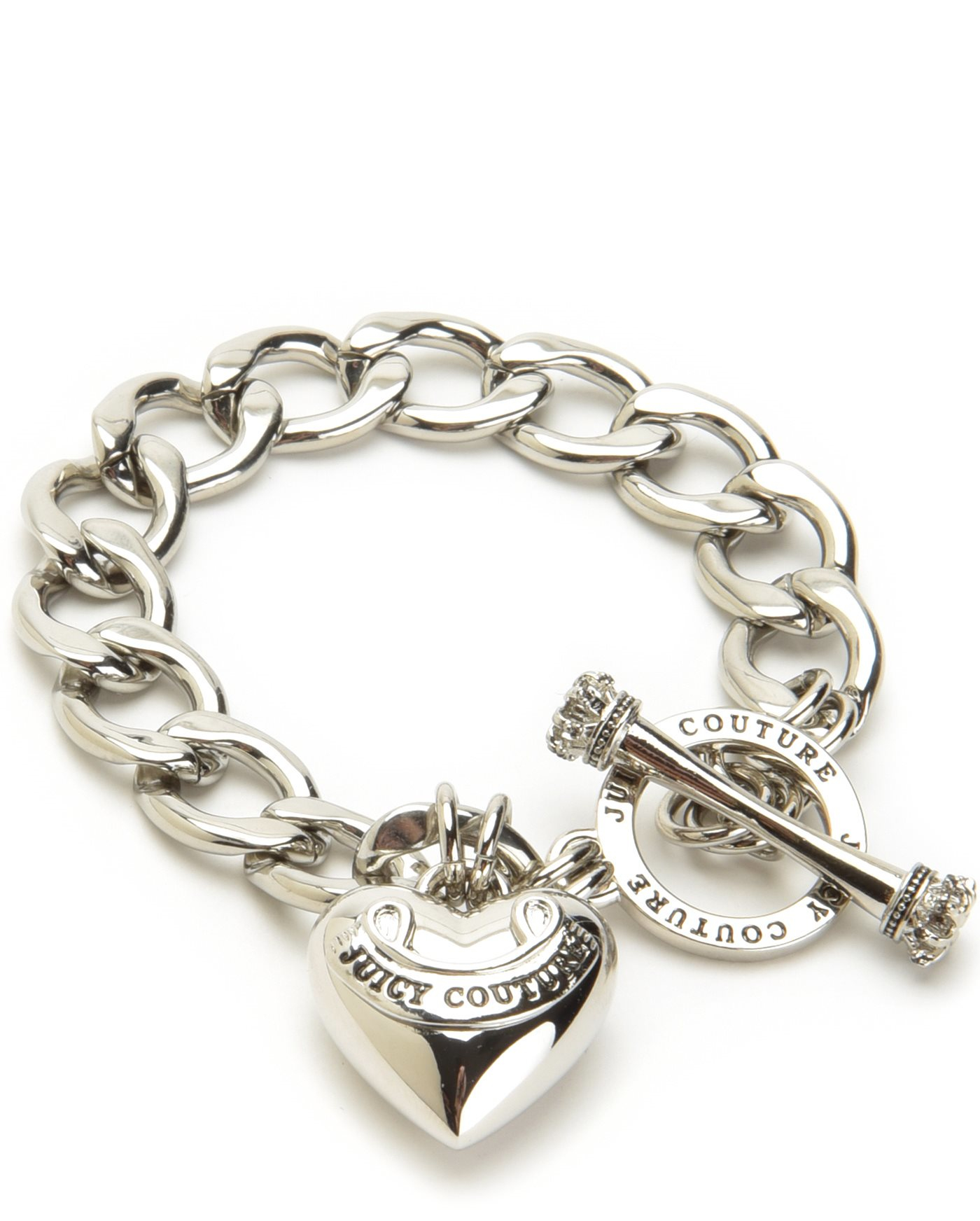 Juicy couture Banner Heart Starter Bracelet in Silver | Lyst