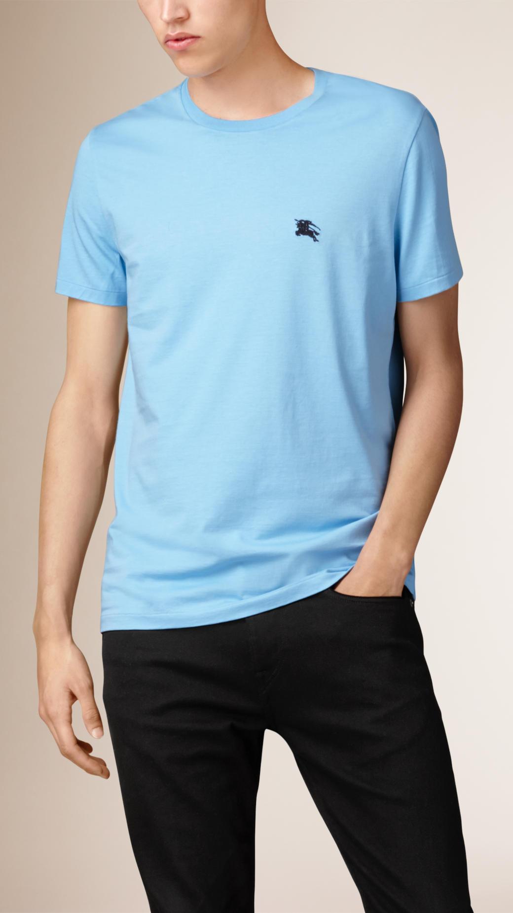 a5e1212a4 Lyst - Burberry Liquid Soft Cotton T-shirt Powder Blue in Blue for Men