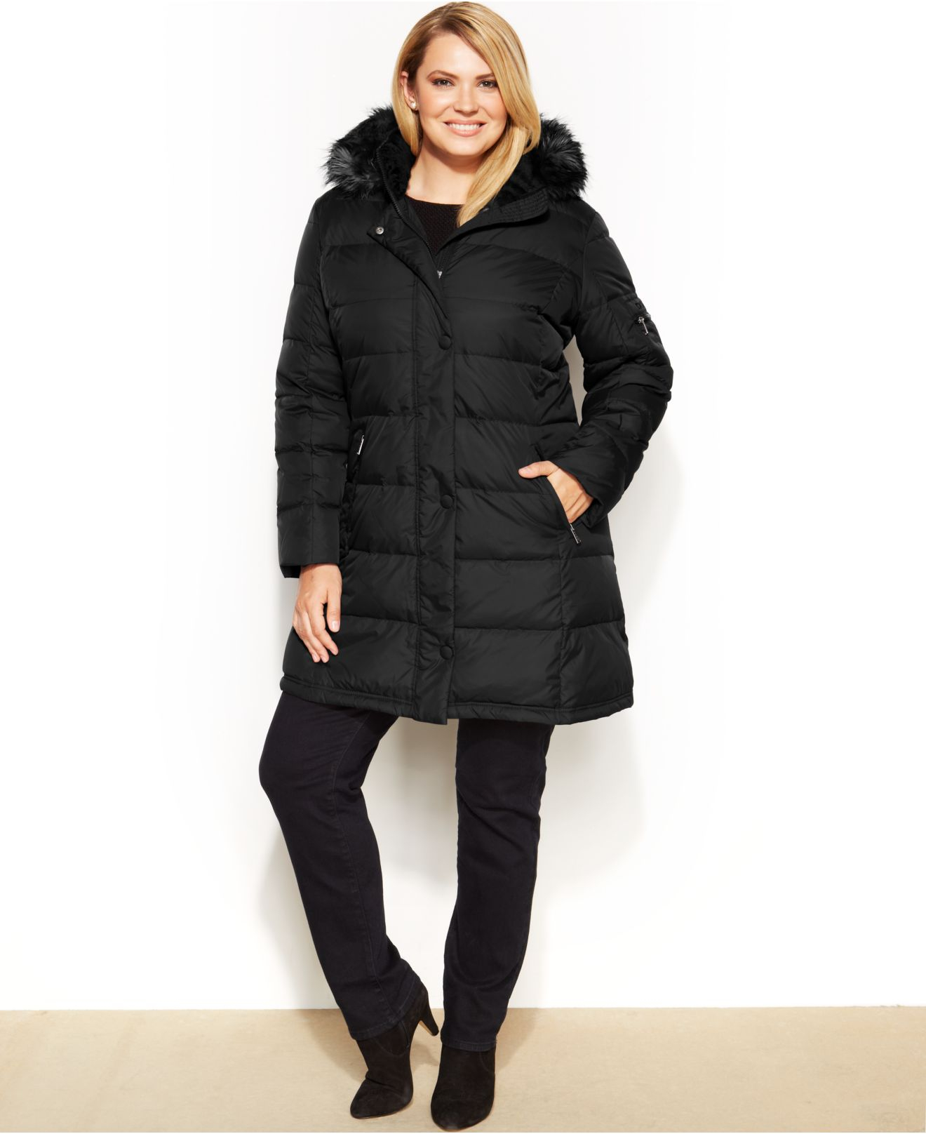 Dkny Plus Size Faux-Fur-Trim Hooded Down Puffer Coat in Black | Lyst