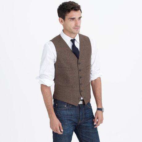 J B Ludlow crew Ludlow Suit Vest In Herringbone Italian Wool in Brown for Men ...