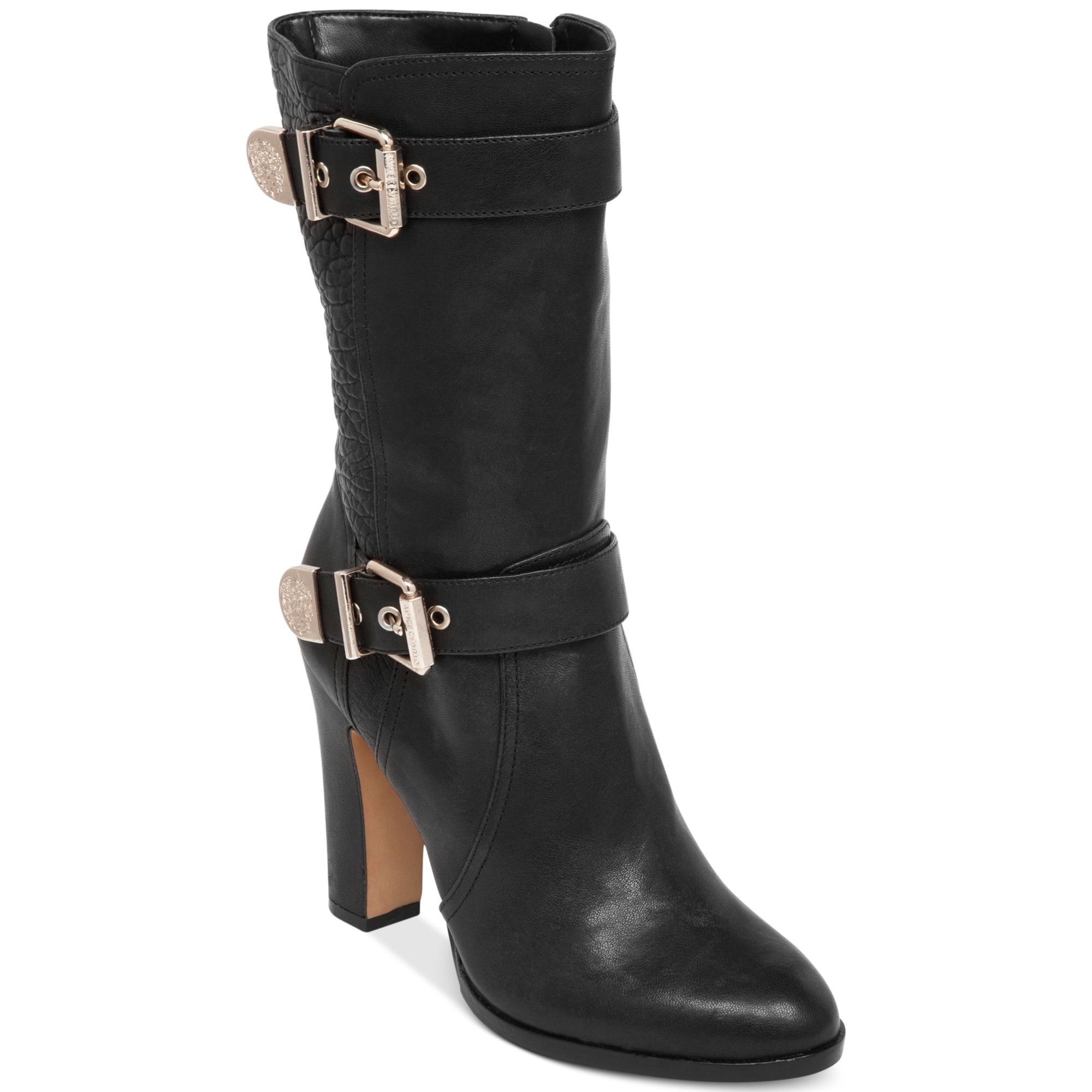 Vince Camuto Callison High Heel Boots In Black Black Gold