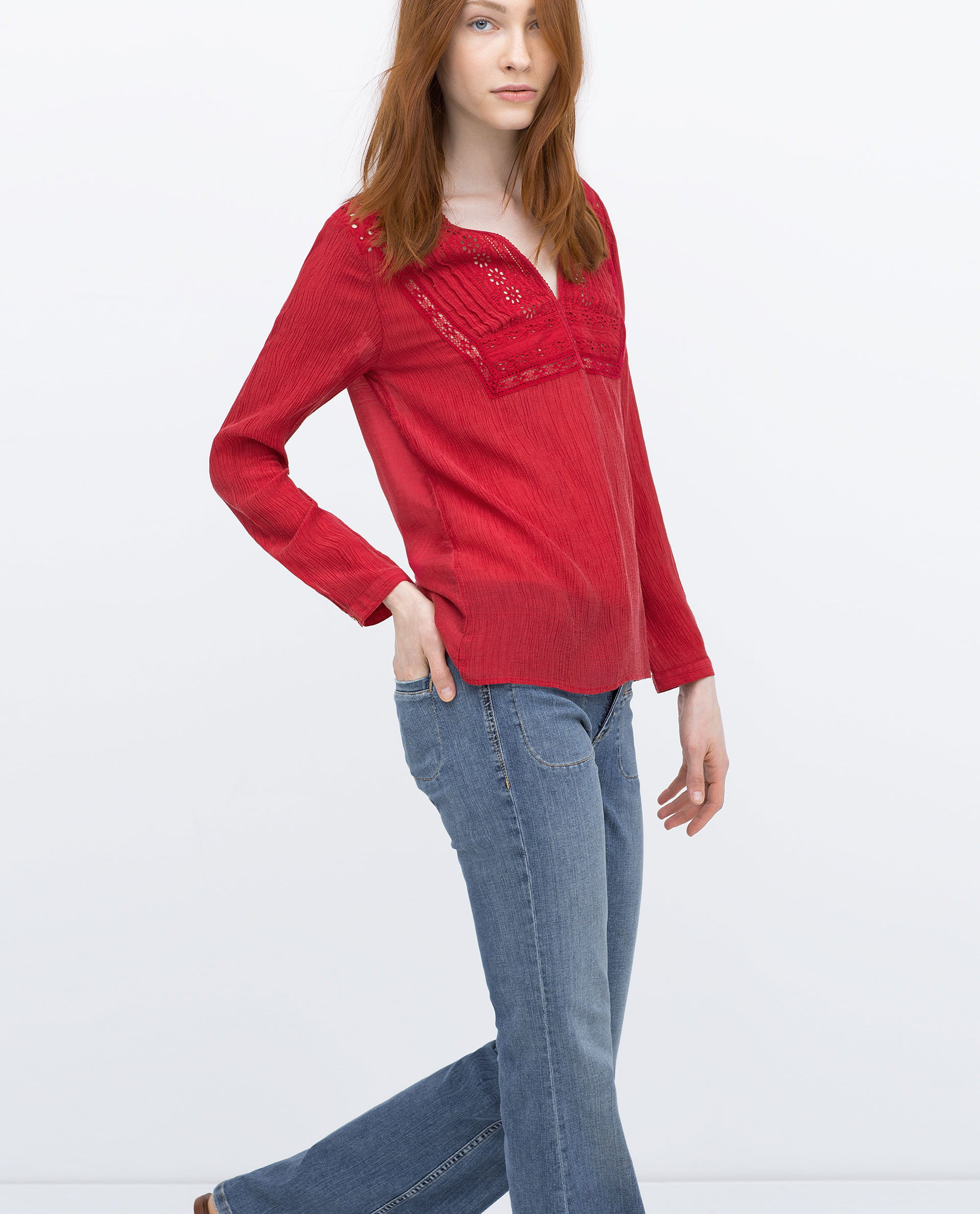 Zara cheesecloth shirt with embroidered bib front