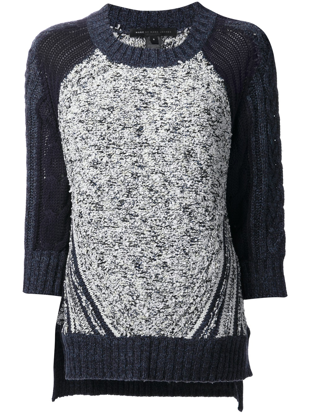 marc by marc jacobs textured knit sweater in blue lyst. Black Bedroom Furniture Sets. Home Design Ideas