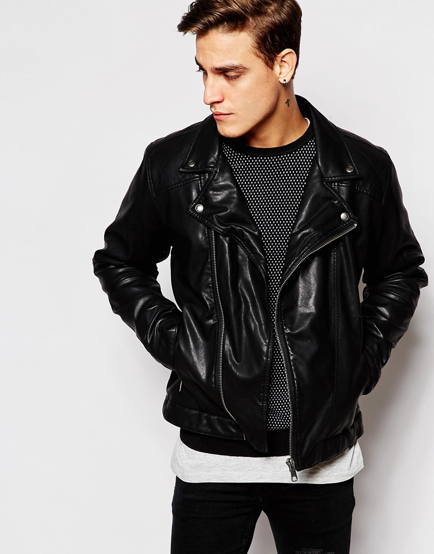 Collection Mens Faux Leather Biker Jacket Pictures - Reikian