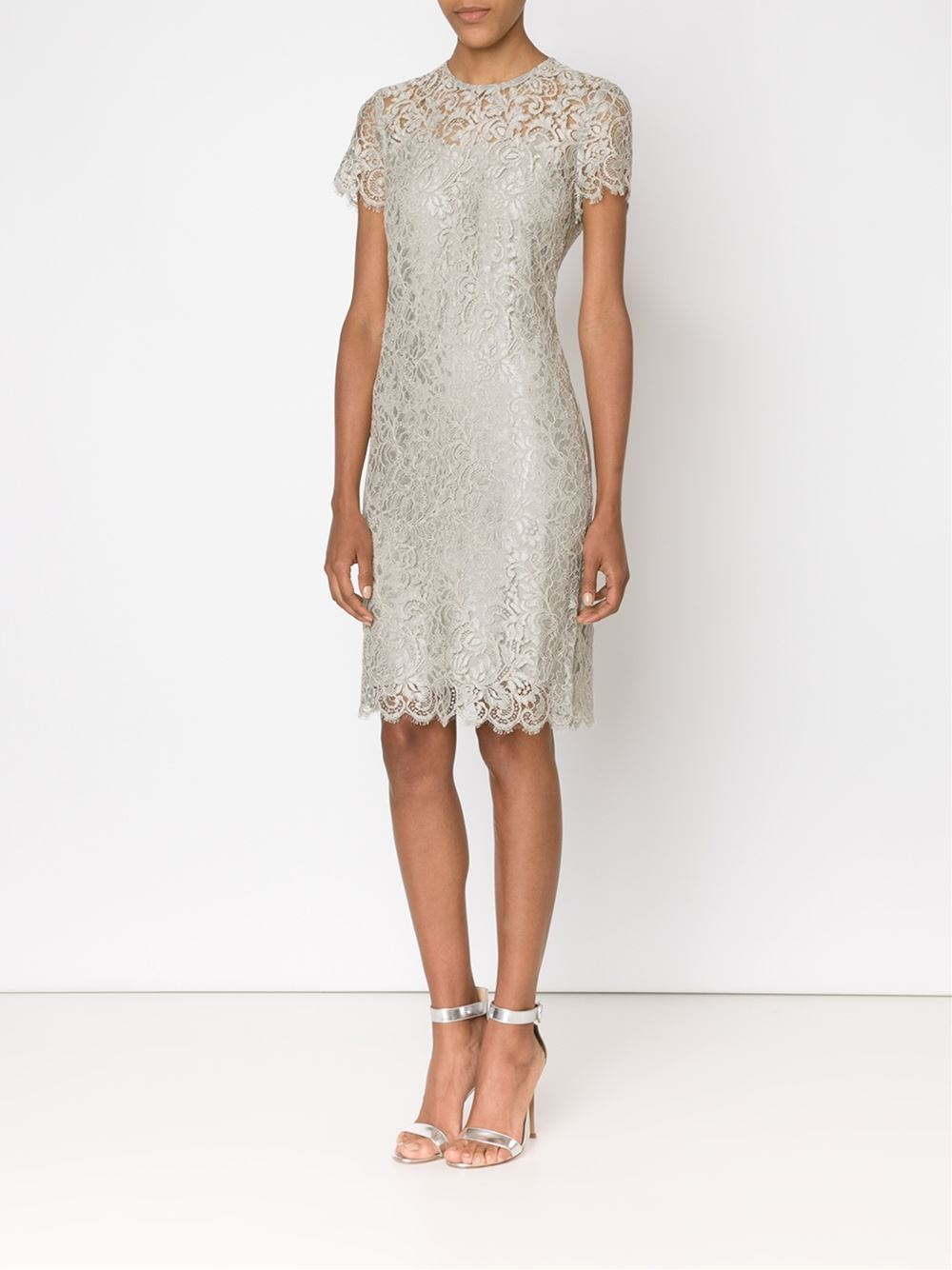 Ralph Lauren Black Label Floral Lace Fitted Dress In Gray