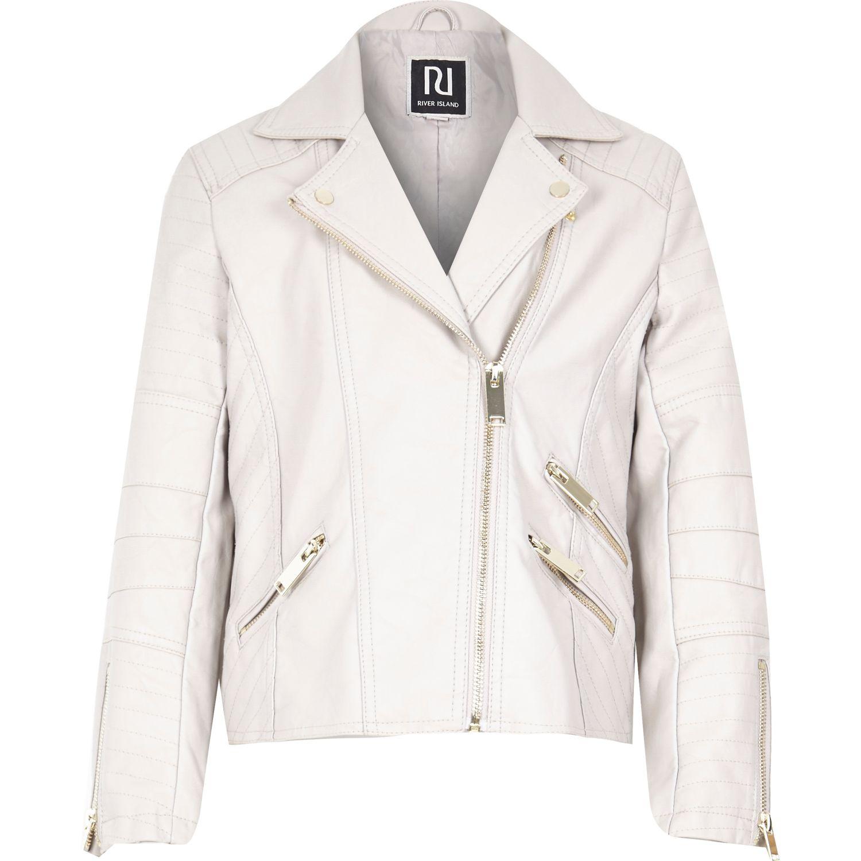 b7093a847471 River Island Girls Cream Leather-look Zip Biker Jacket in Natural - Lyst