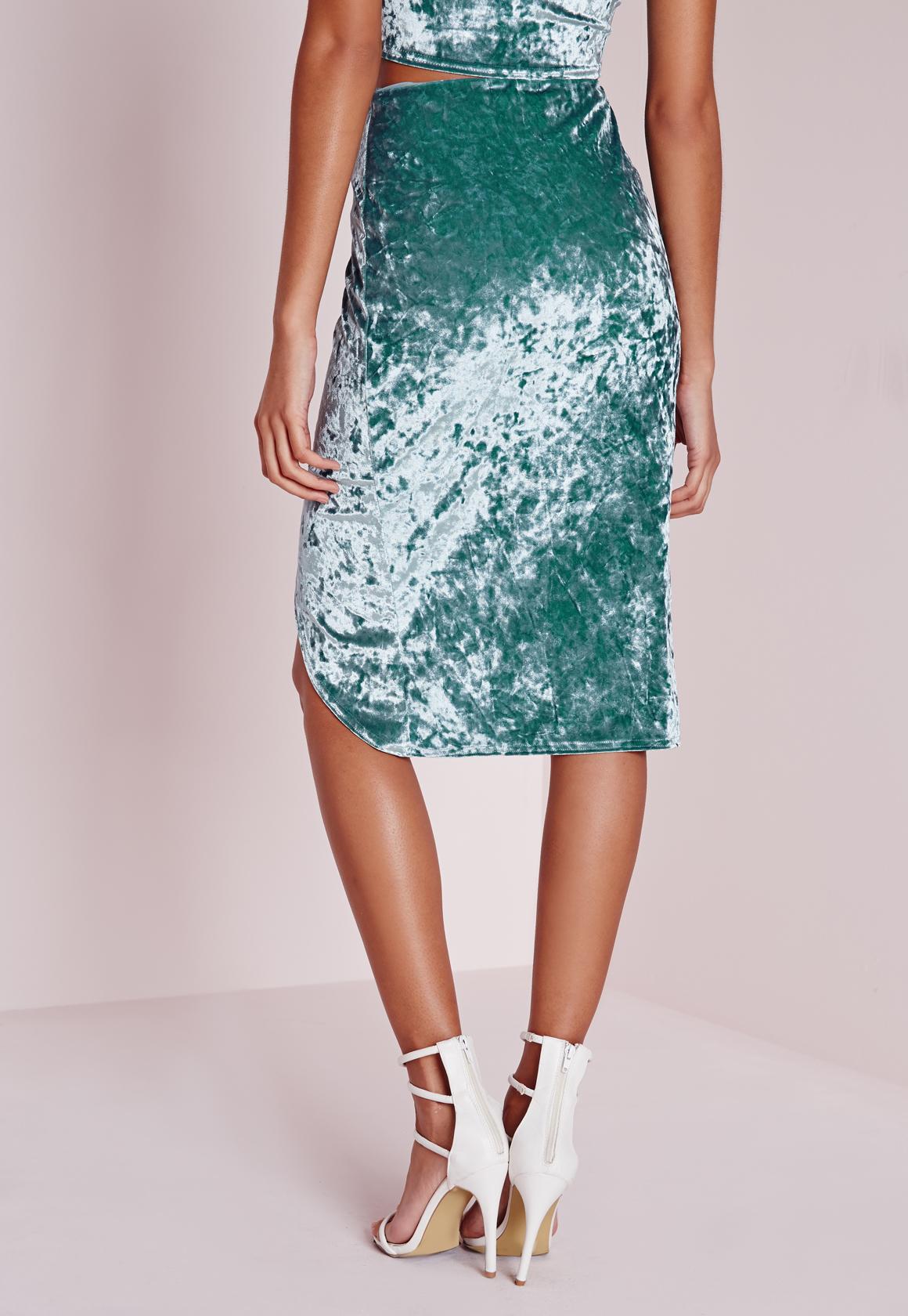 missguided crushed velvet wrap midi skirt dusky mint in