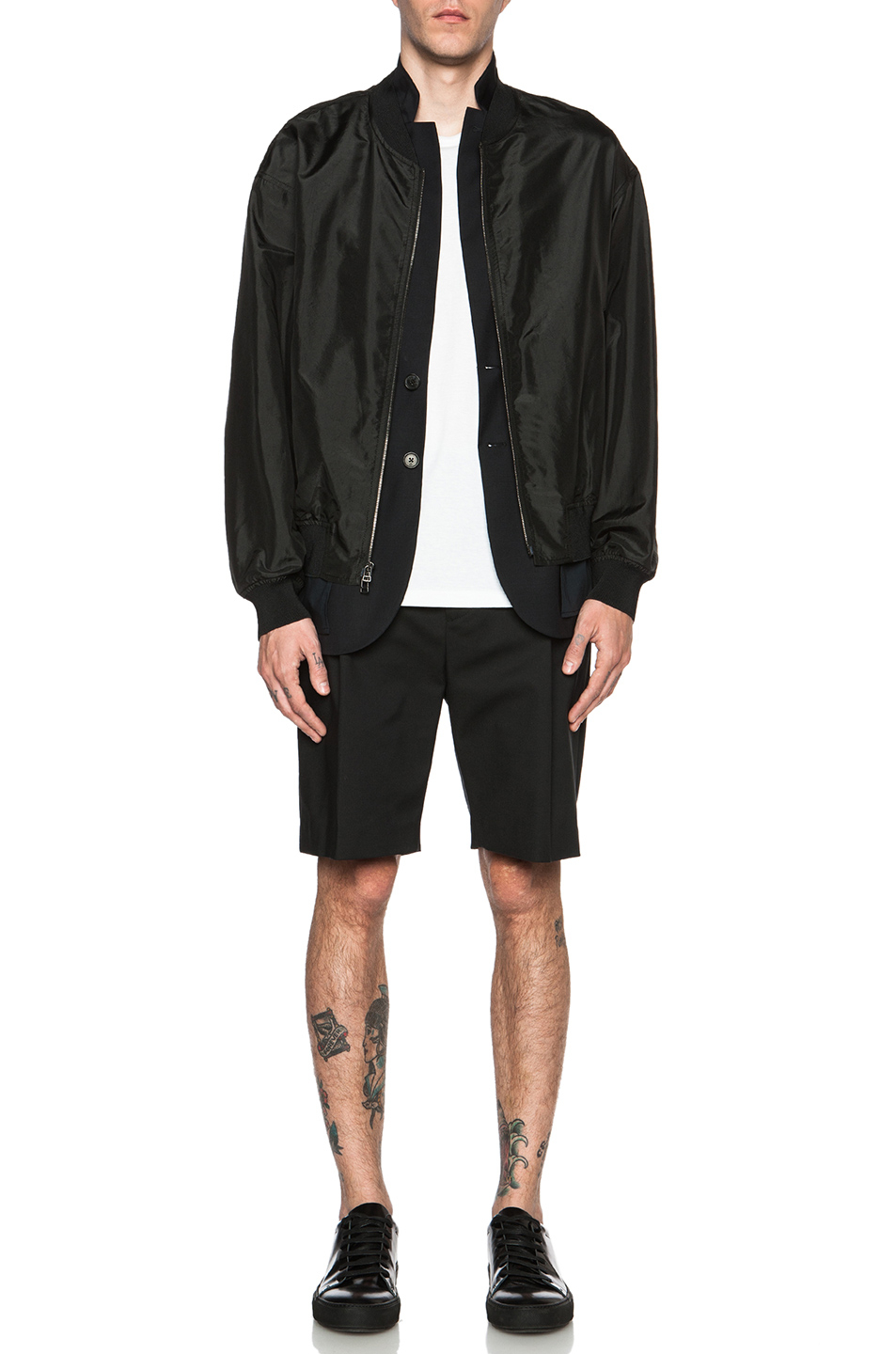 3.1 phillip lim Men'S Tromp Loeil Silk Bomber Jacket in Black | Lyst