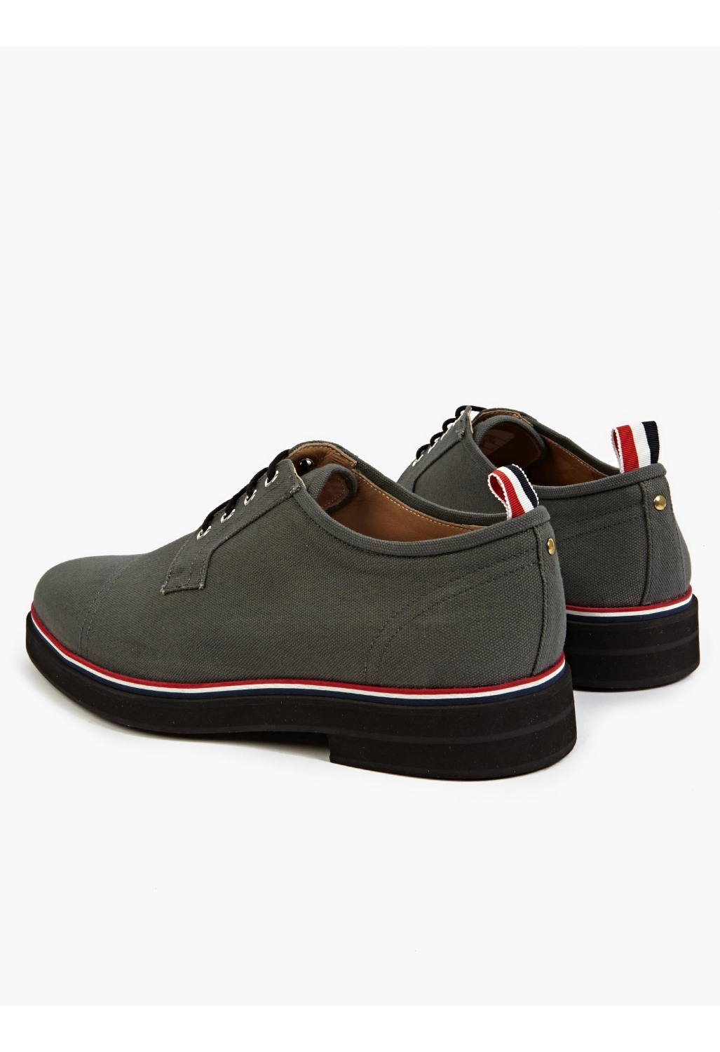thom browne men s grey cotton canvas shoes in green for