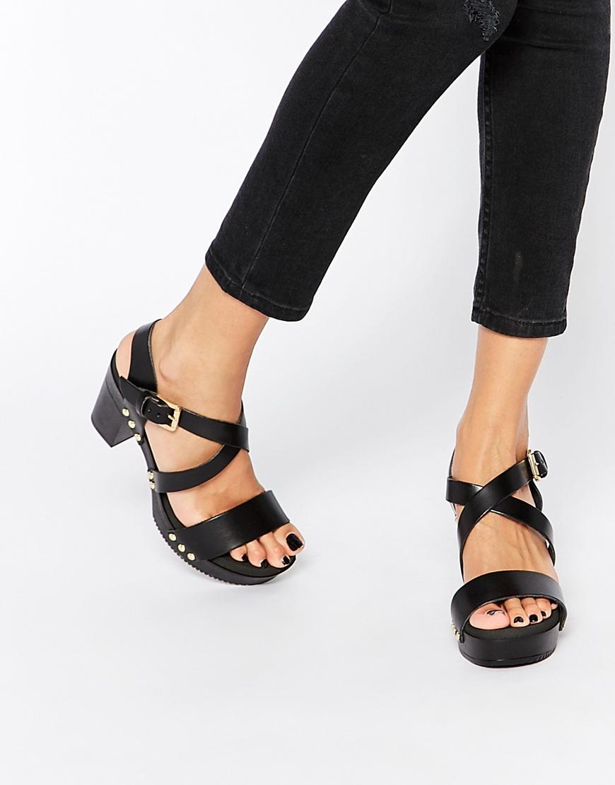 Lyst Dune Jaxon Black Leather Heeled Clog Sandals In Black