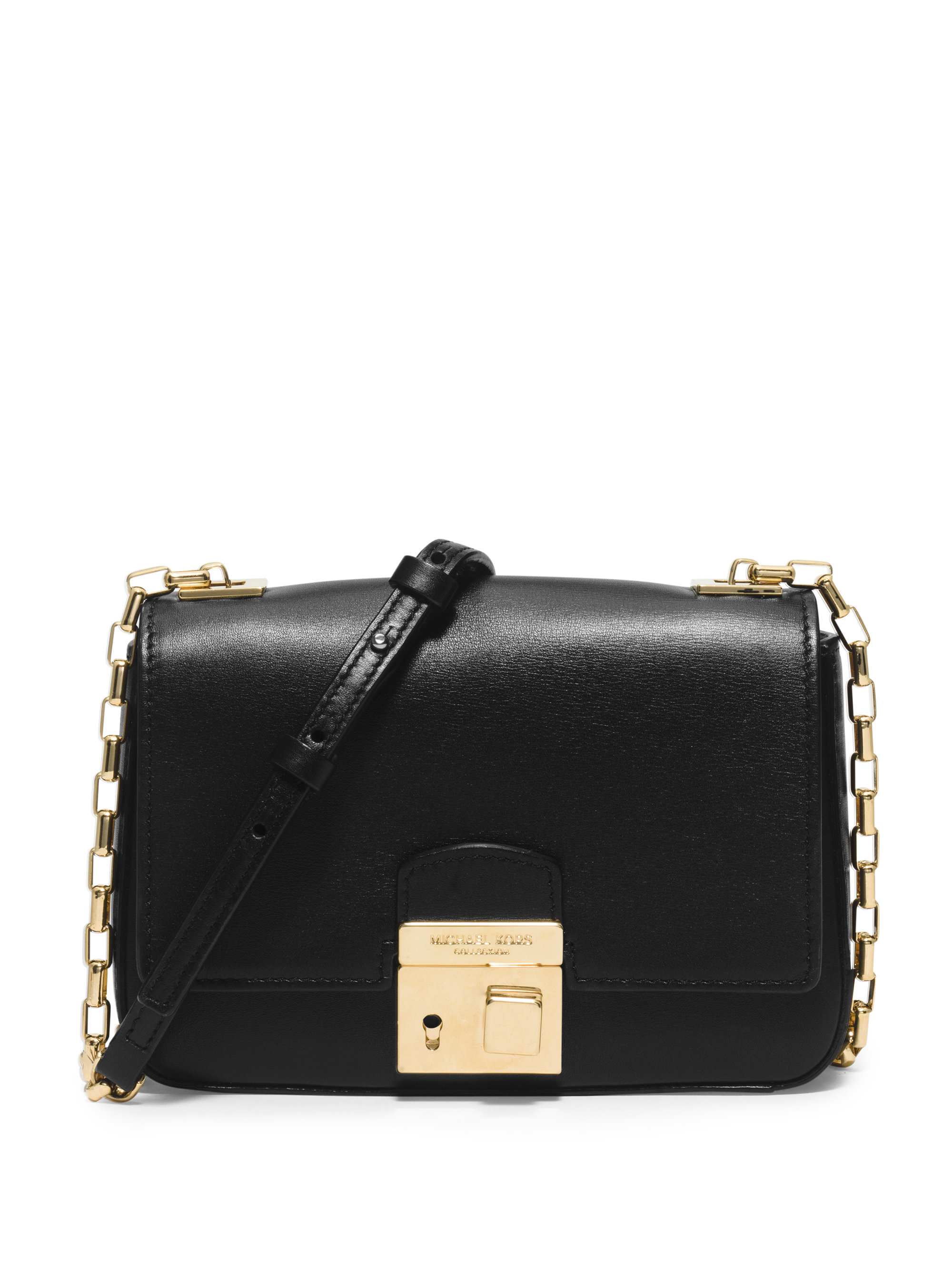 Michael kors Gia Small Leather Shoulder Bag in Black | Lyst