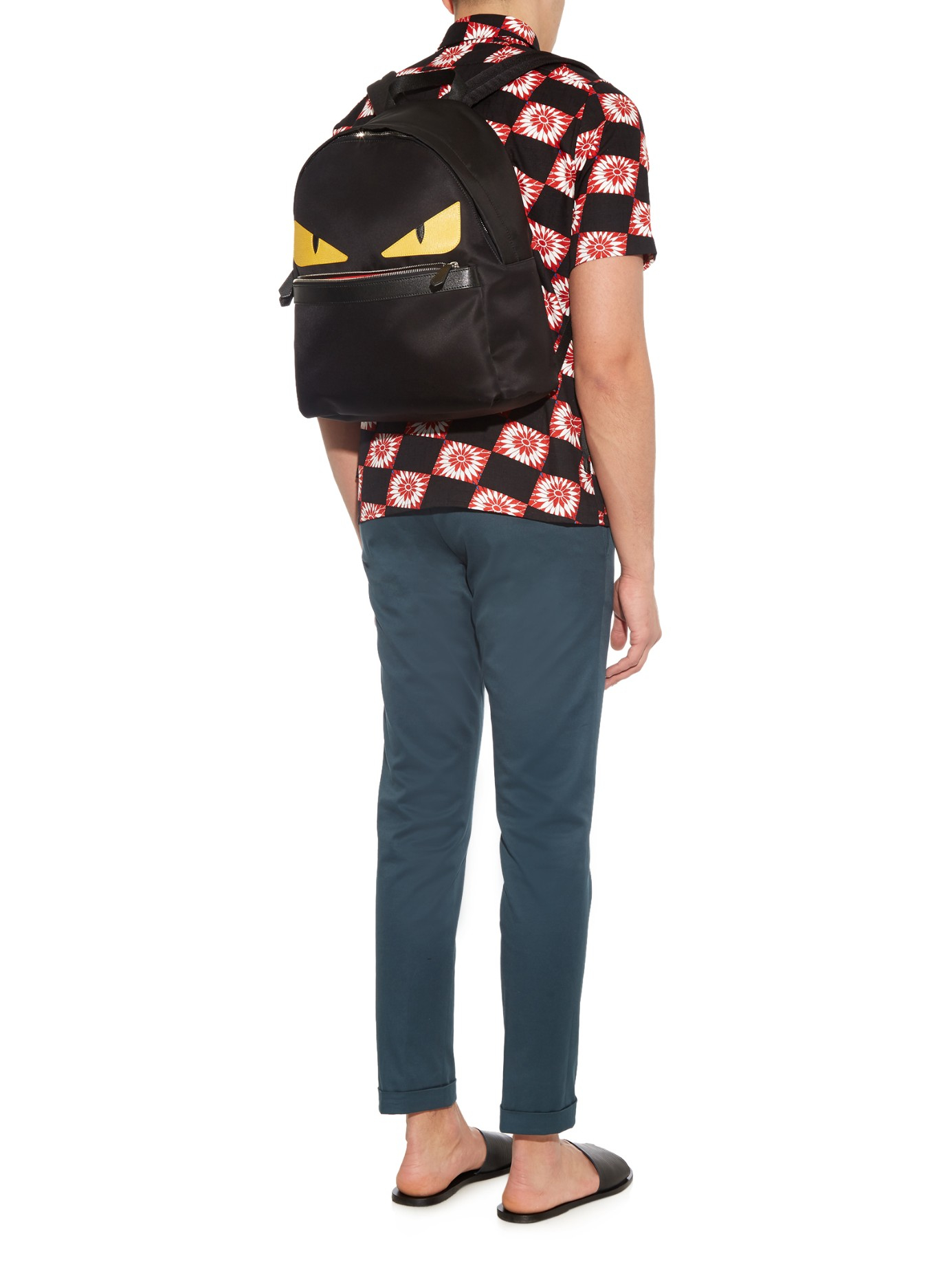 e59f35665509 Fendi Bag Bugs Nylon And Leather Backpack in Black for Men - Lyst