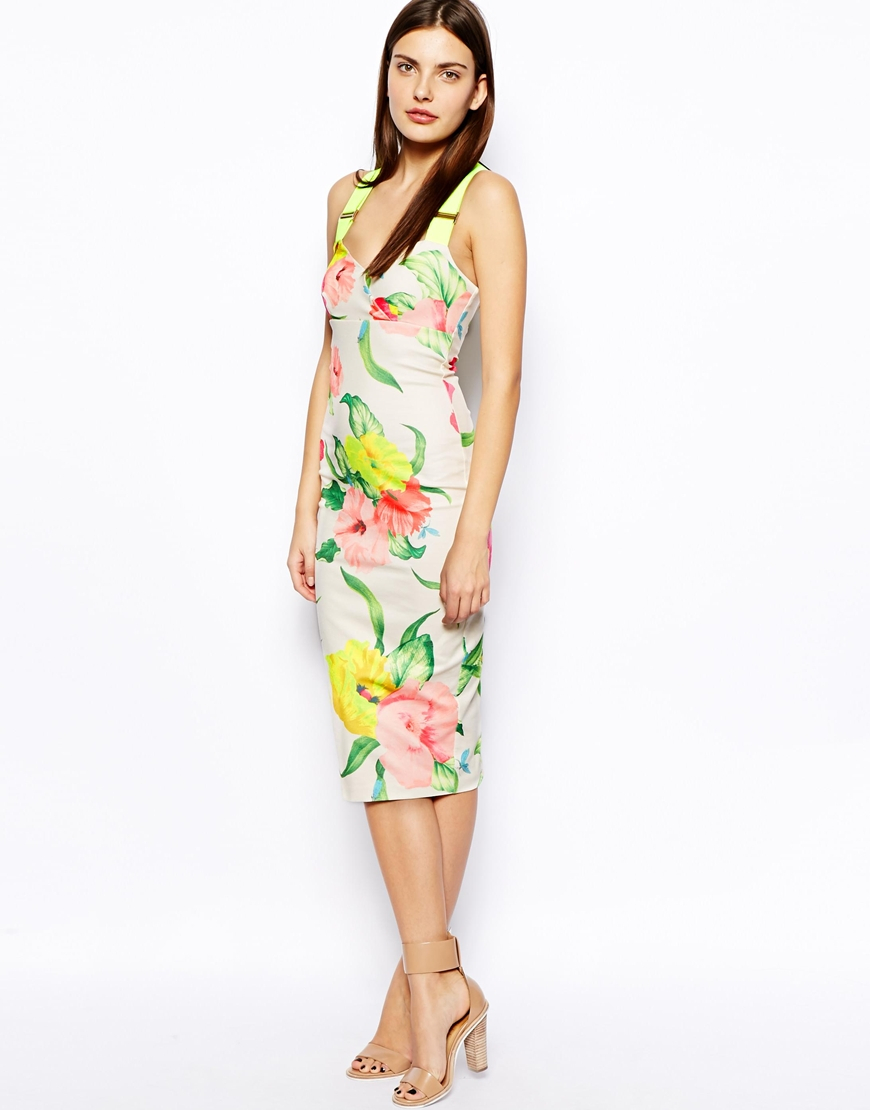 Lyst Ted Baker Taylar Midi Dress In Floral Print With Fluro Straps