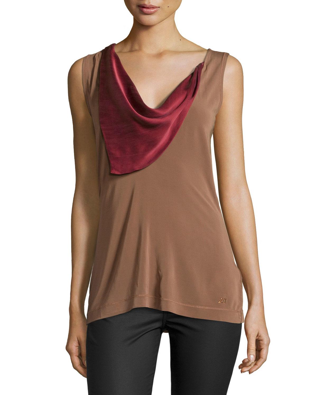 Lyst escada sleeveless colorblock cowl neck top in brown