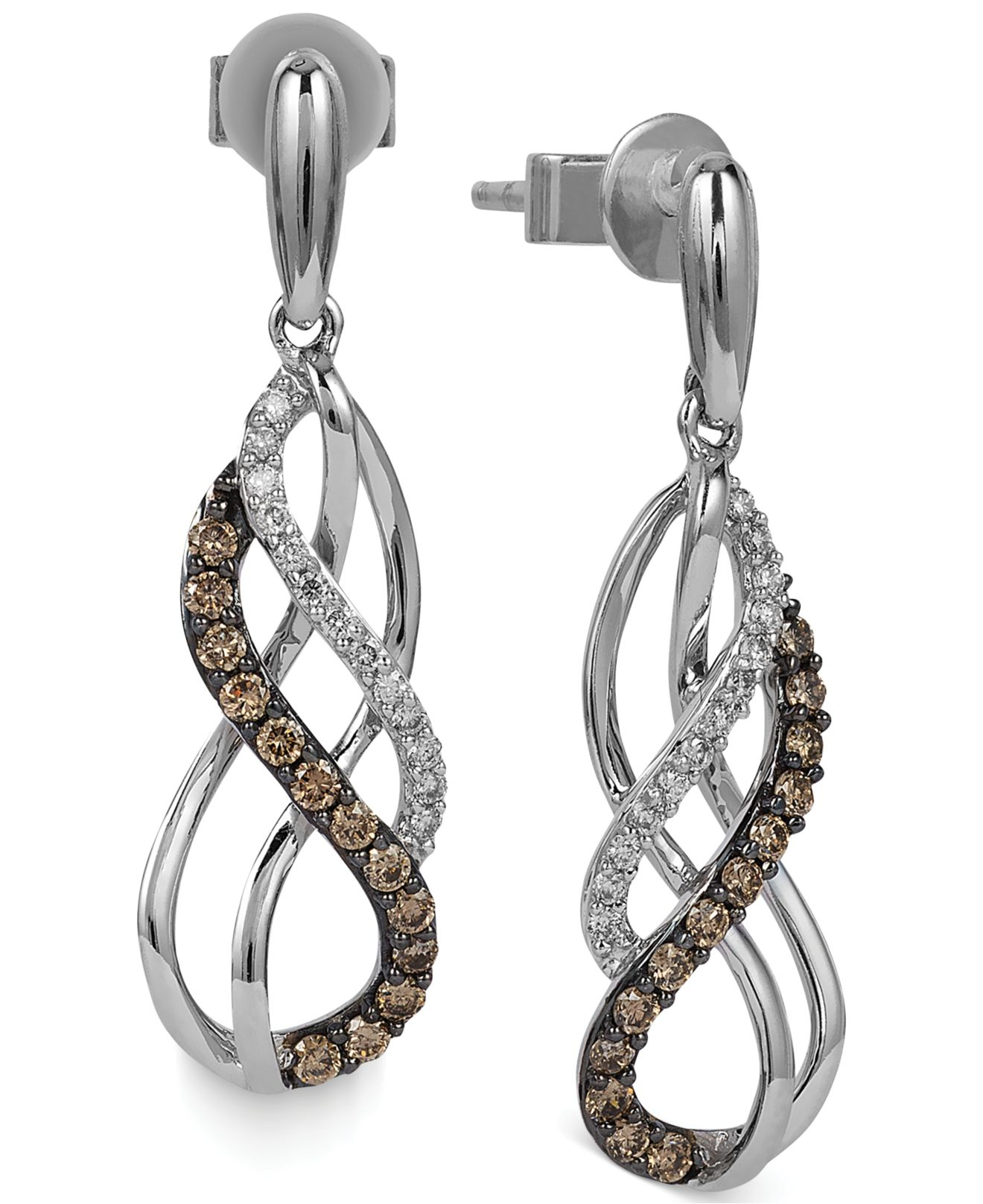 lyst le vian white and chocolate diamond swirl earrings. Black Bedroom Furniture Sets. Home Design Ideas