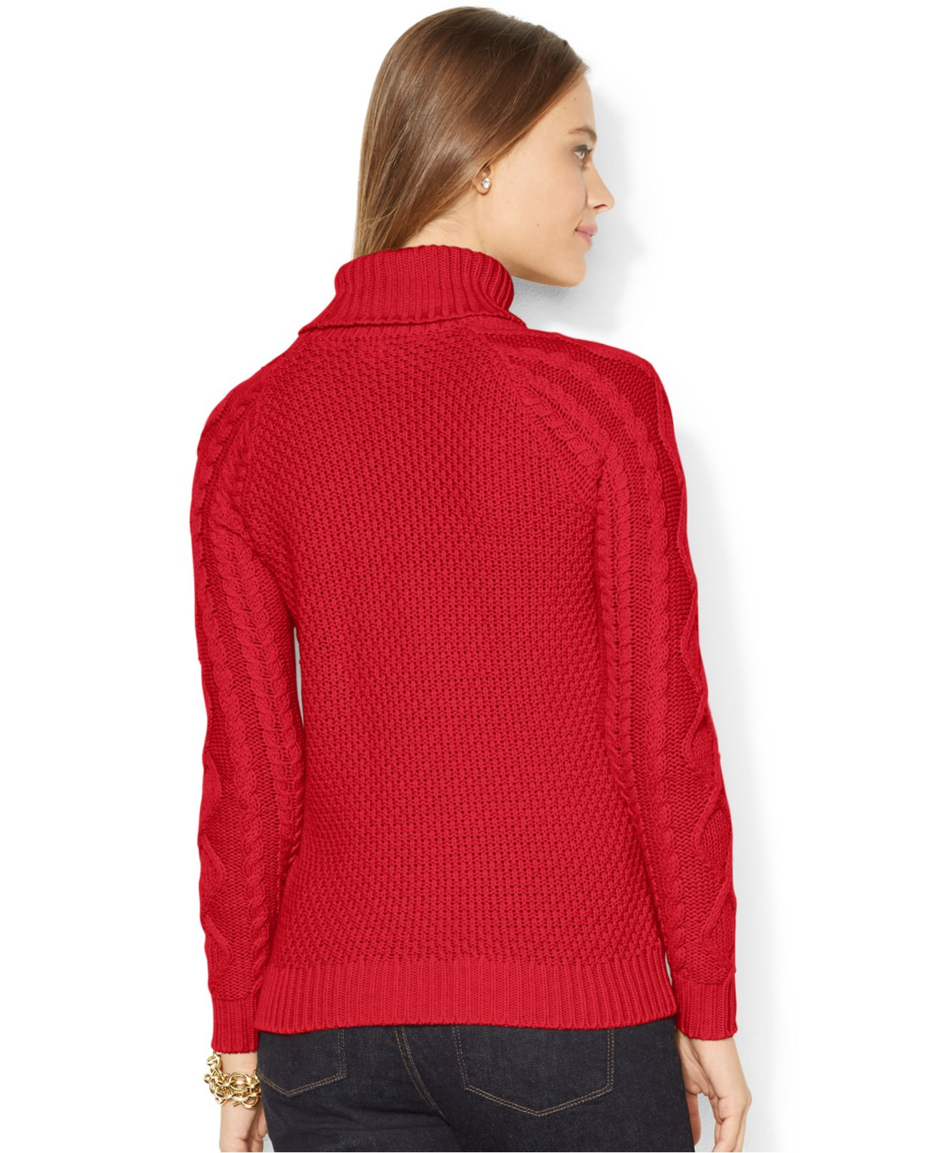 Lyst Lauren By Ralph Lauren Cable Knit Turtleneck Sweater In Red