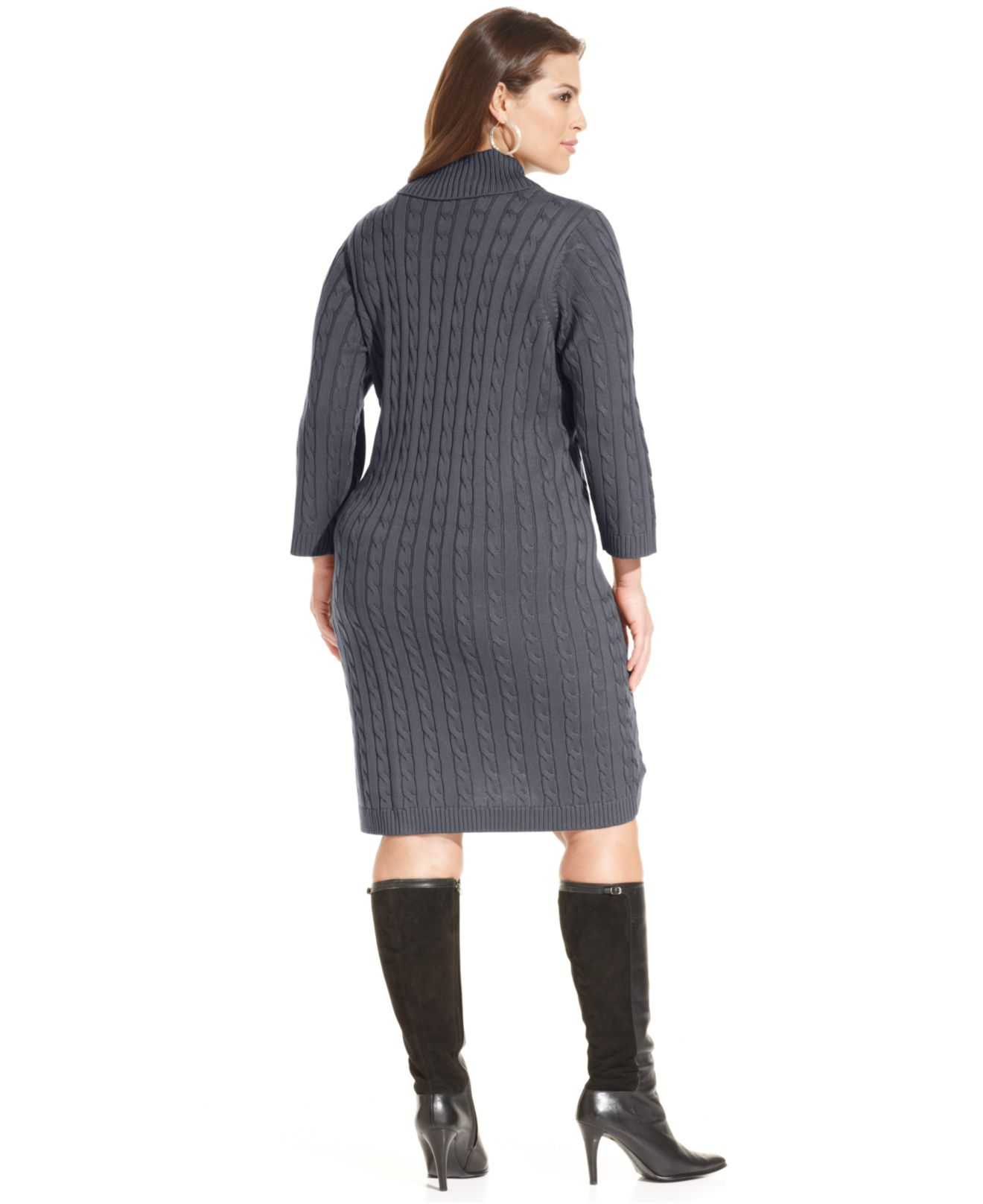 Lyst Calvin Klein Plus Size Cable Knit Sweater Dress In Gray