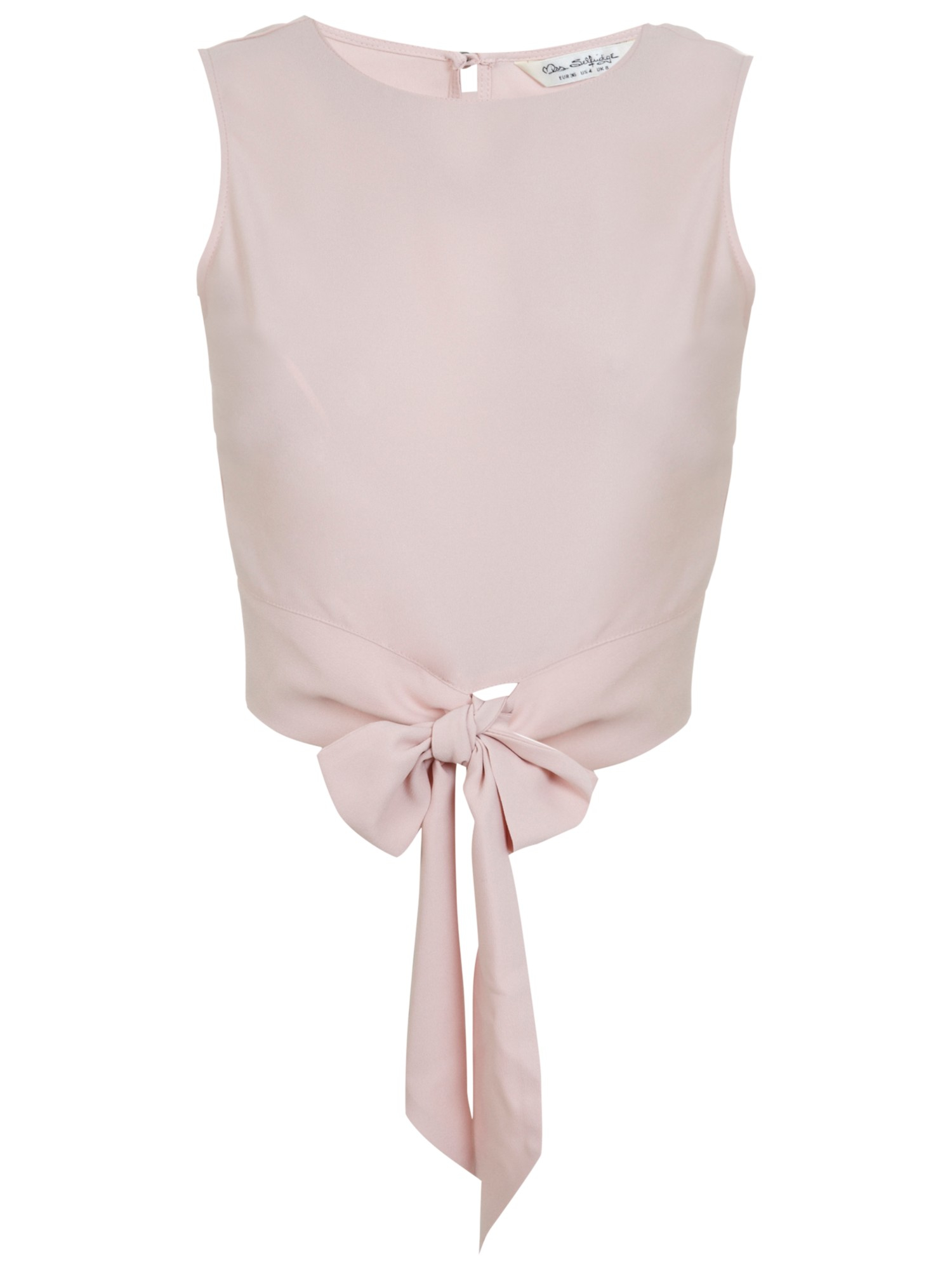 c8d4398df13e9 Miss Selfridge Tie Front Shell Top in Natural - Lyst