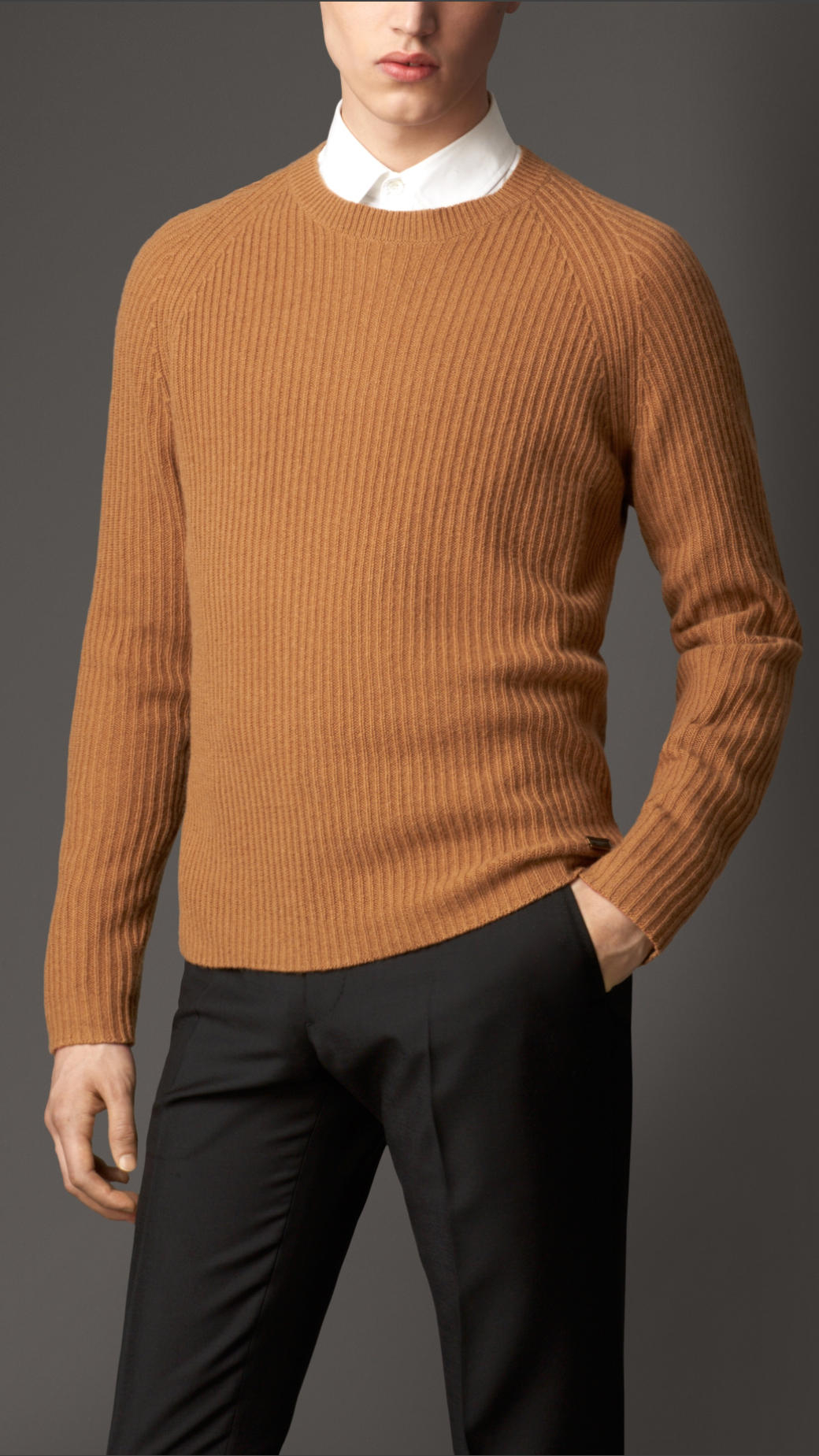 Burberry Lightweight Cashmere Sweater in Orange for Men | Lyst