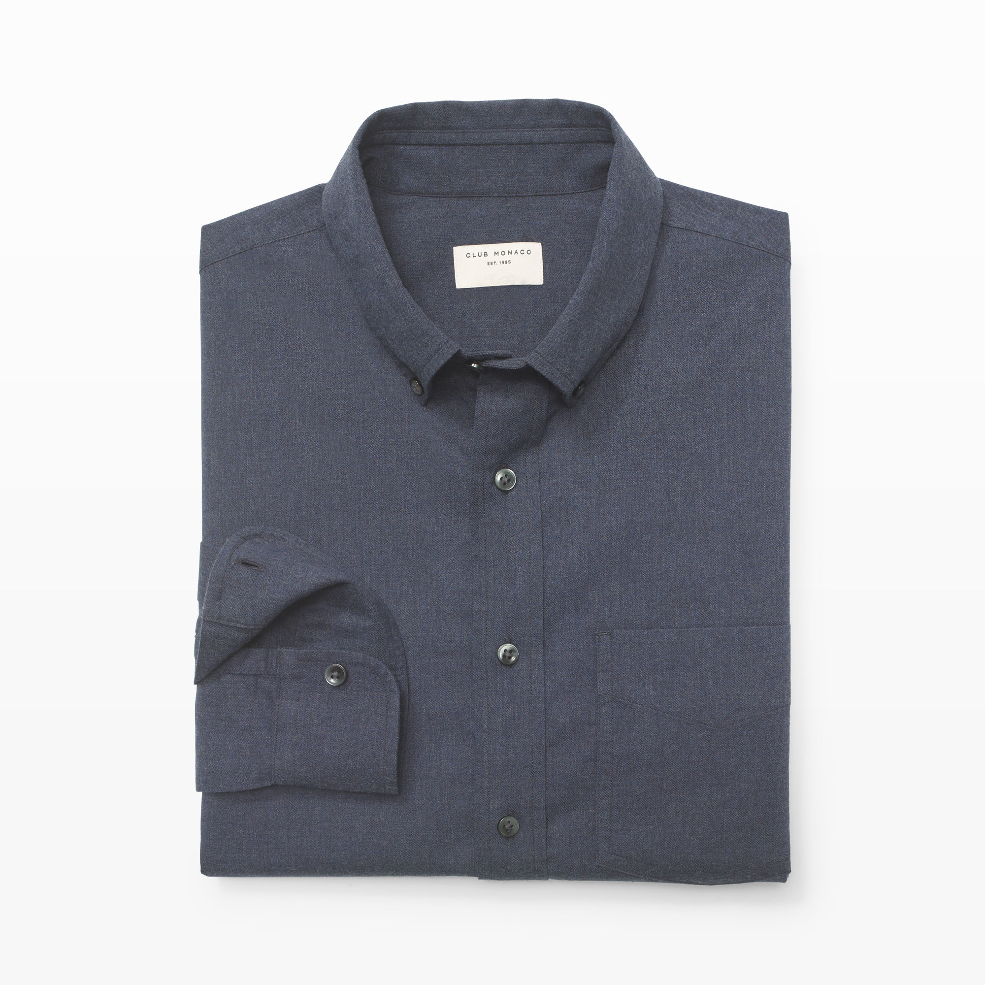 Club monaco slim fit flannel shirt in blue for men navy for Mens slim fit flannel shirt