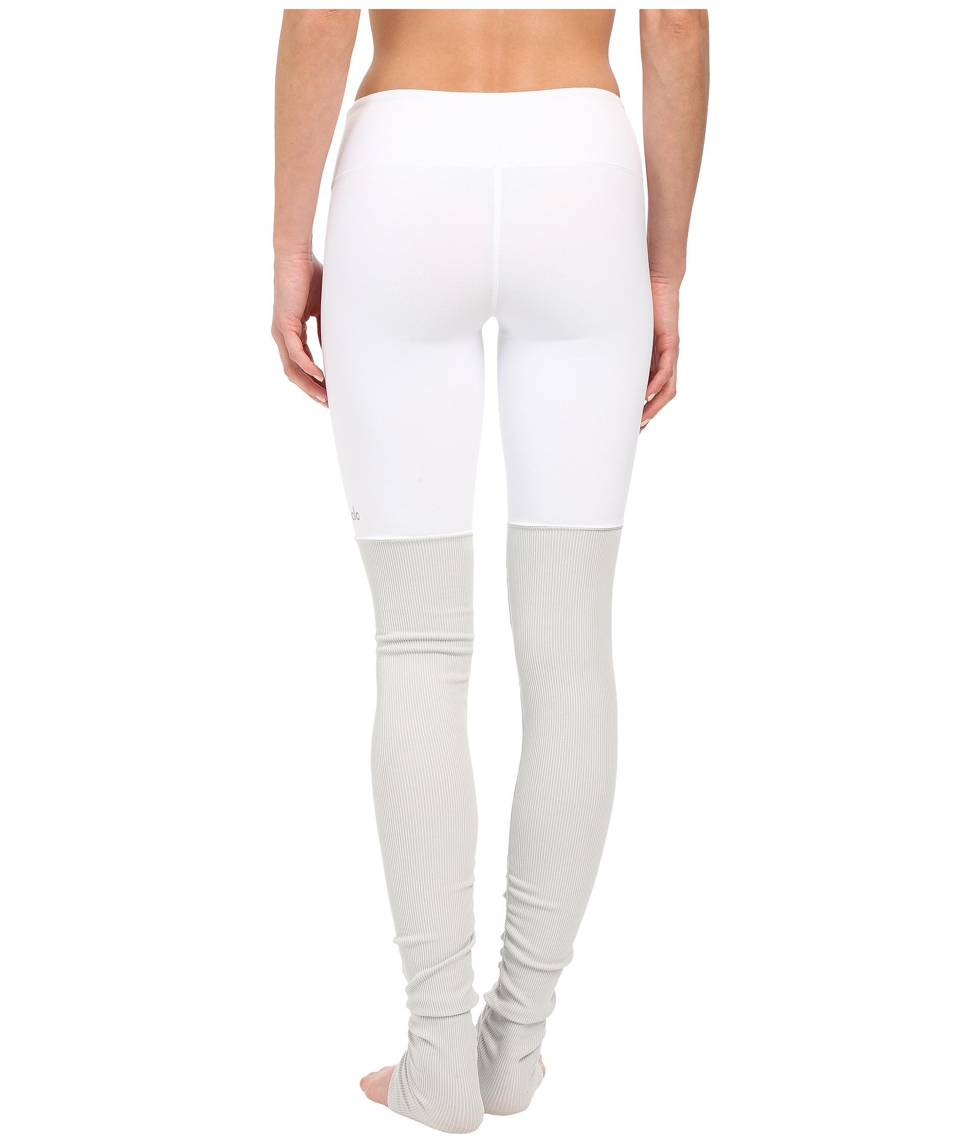 84a03e4f09ae7c Alo Yoga Goddess Ribbed Legging in White - Lyst