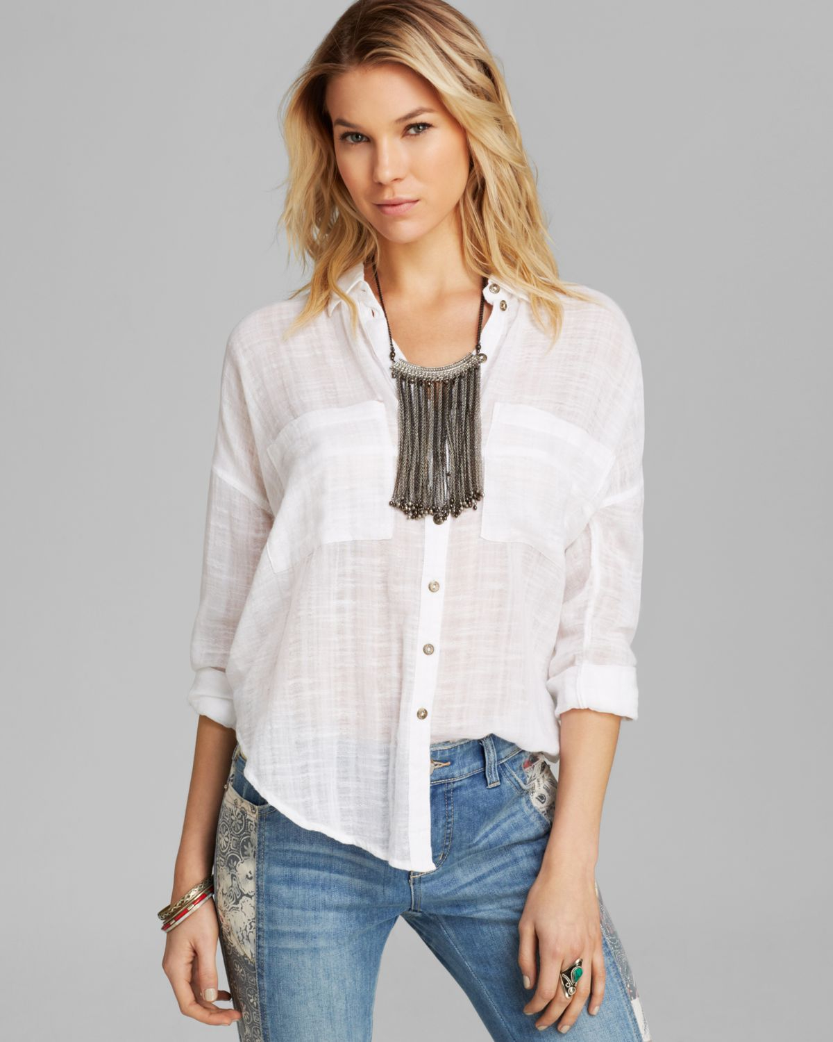 2c5af7a08 Free People Top Shibori Siren Button Down in White - Lyst