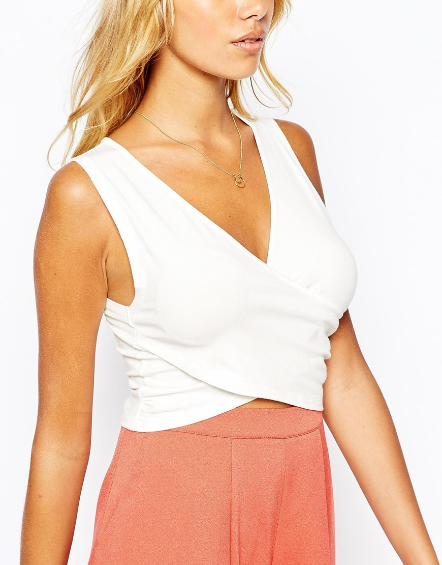 d00ff638d280e Lyst - Fashion Union Wrap Front Crop Top in White