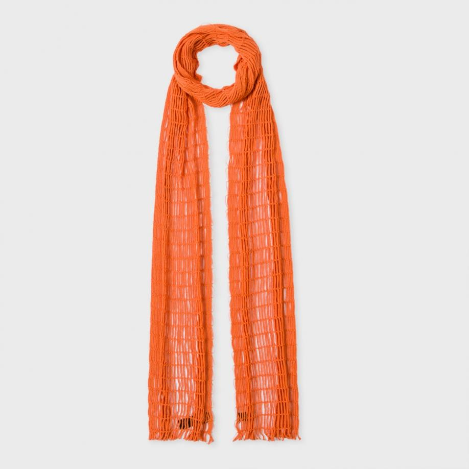 paul smith s burnt orange netted cotton scarf in