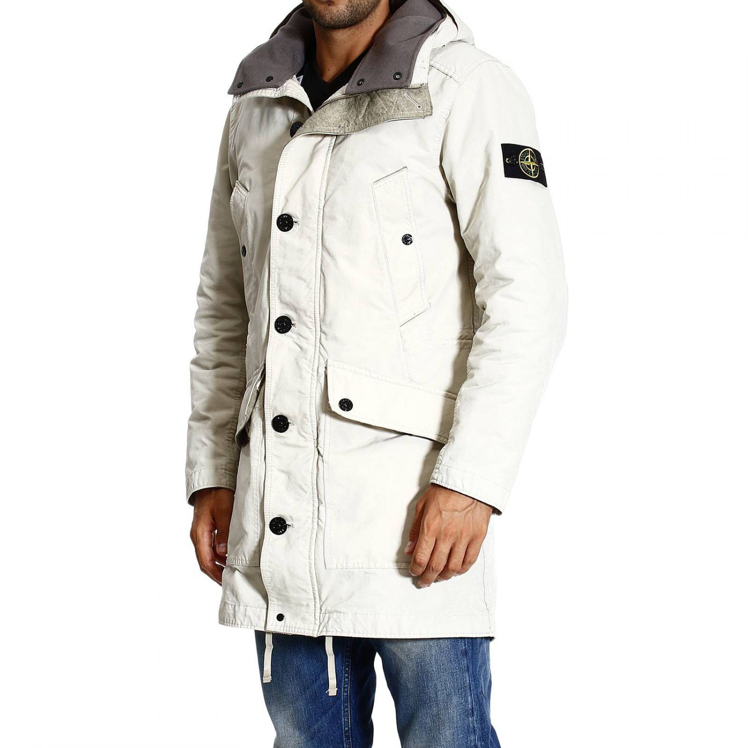 stone island down jacket david long parka with hood in natural for men lyst. Black Bedroom Furniture Sets. Home Design Ideas