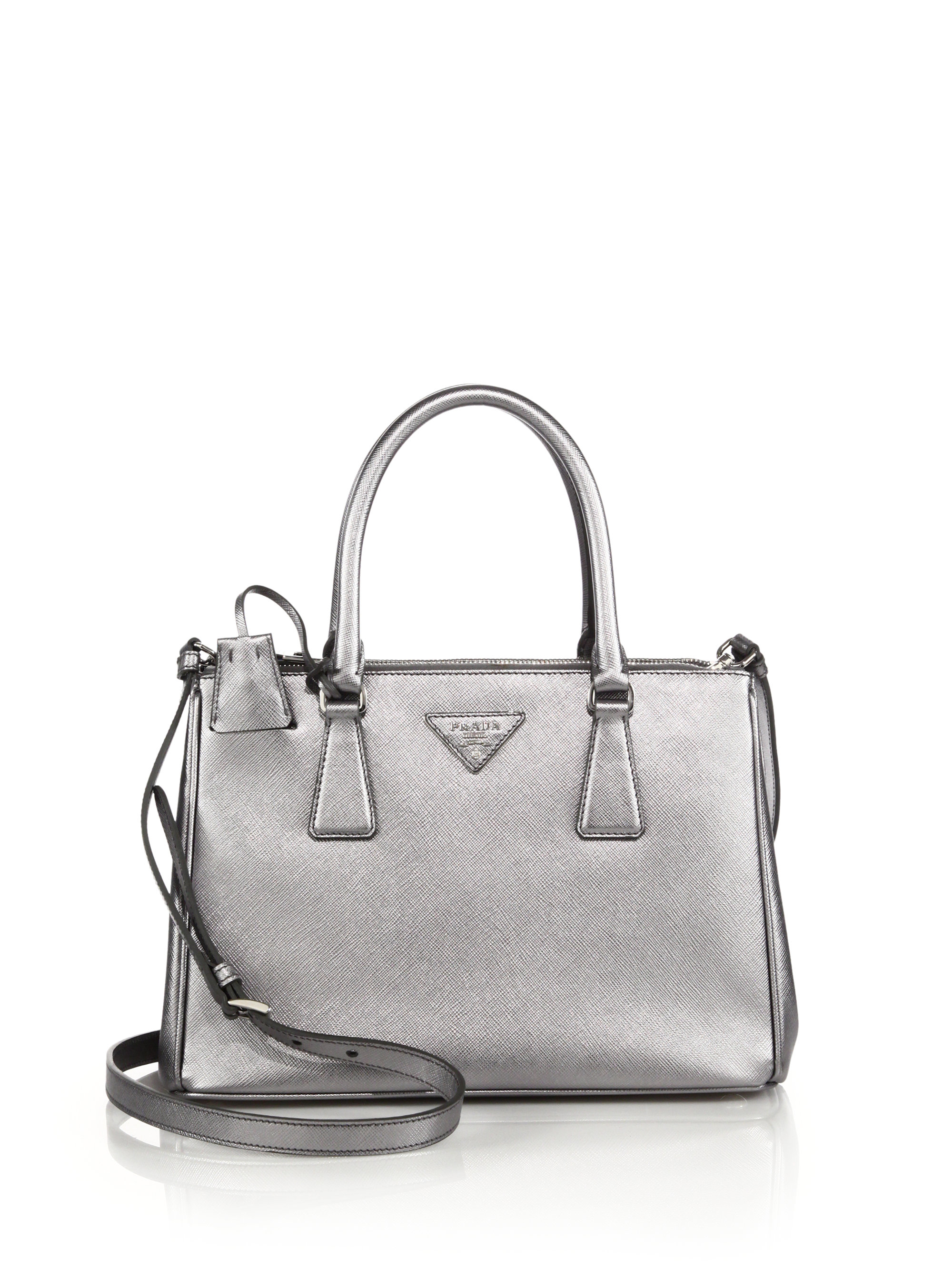 red prada purses - Prada Saffiano Lux Small Metallic Double-zip Tote in Silver (CROMO ...