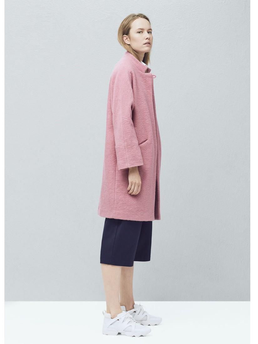 Mango Oversized Wool Blend Coat in Pink | Lyst