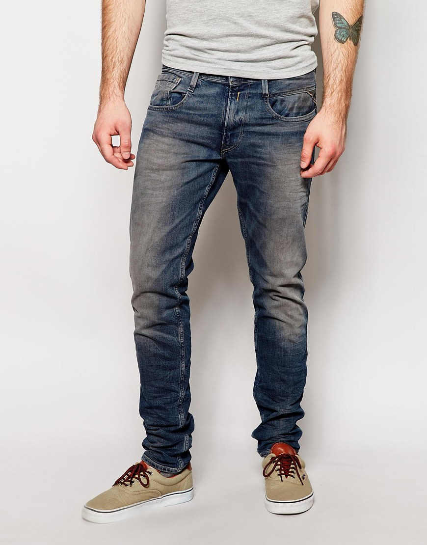 068ab86cafa Lyst - Replay Jeans Laserblast Life Anbass Slim Fit Mid Wash in Blue ...