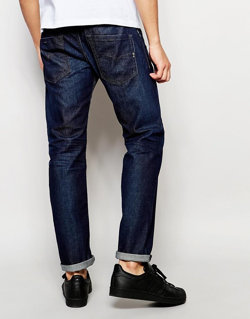 diesel jeans belther 844c slim tapered fit stretch dark wash in blue for men darkwash lyst. Black Bedroom Furniture Sets. Home Design Ideas