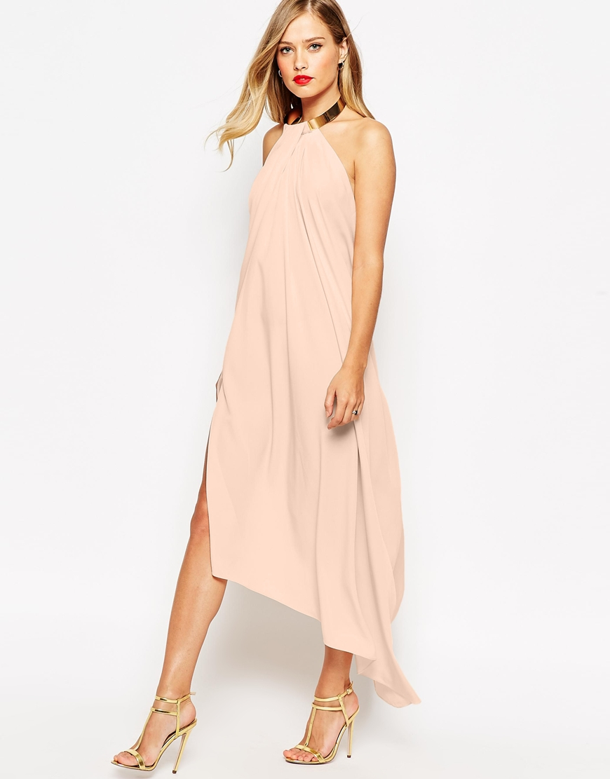 Lyst asos halter swing maxi dress with gold necklace in pink for Jewelry for halter wedding dress