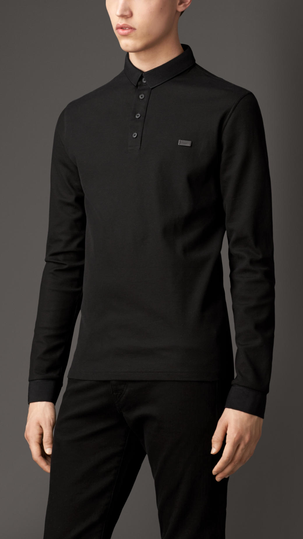 Burberry long sleeve cotton polo shirt in black for men lyst for Black cotton polo shirt