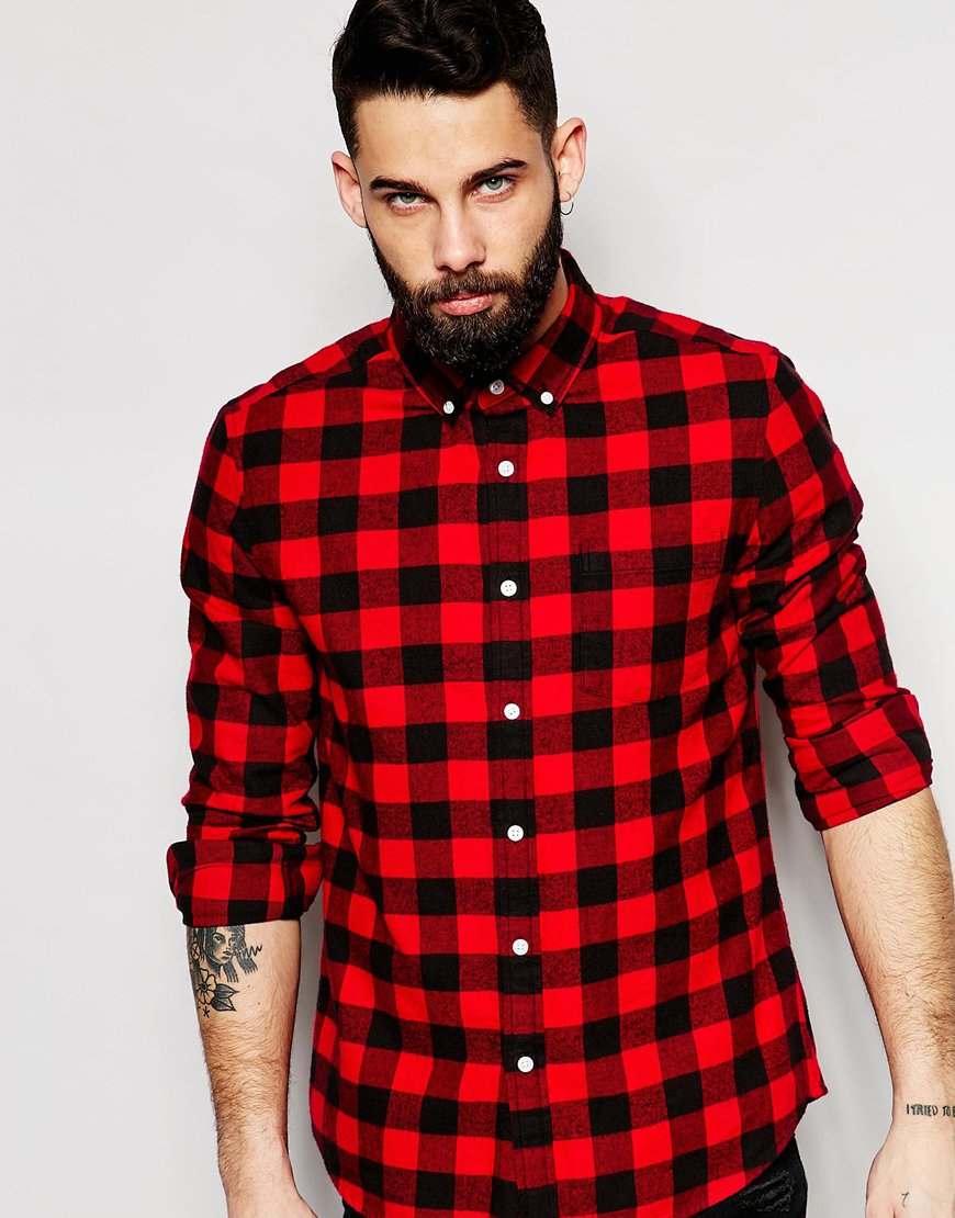 asos buffalo check shirt in regular fit in red for men lyst