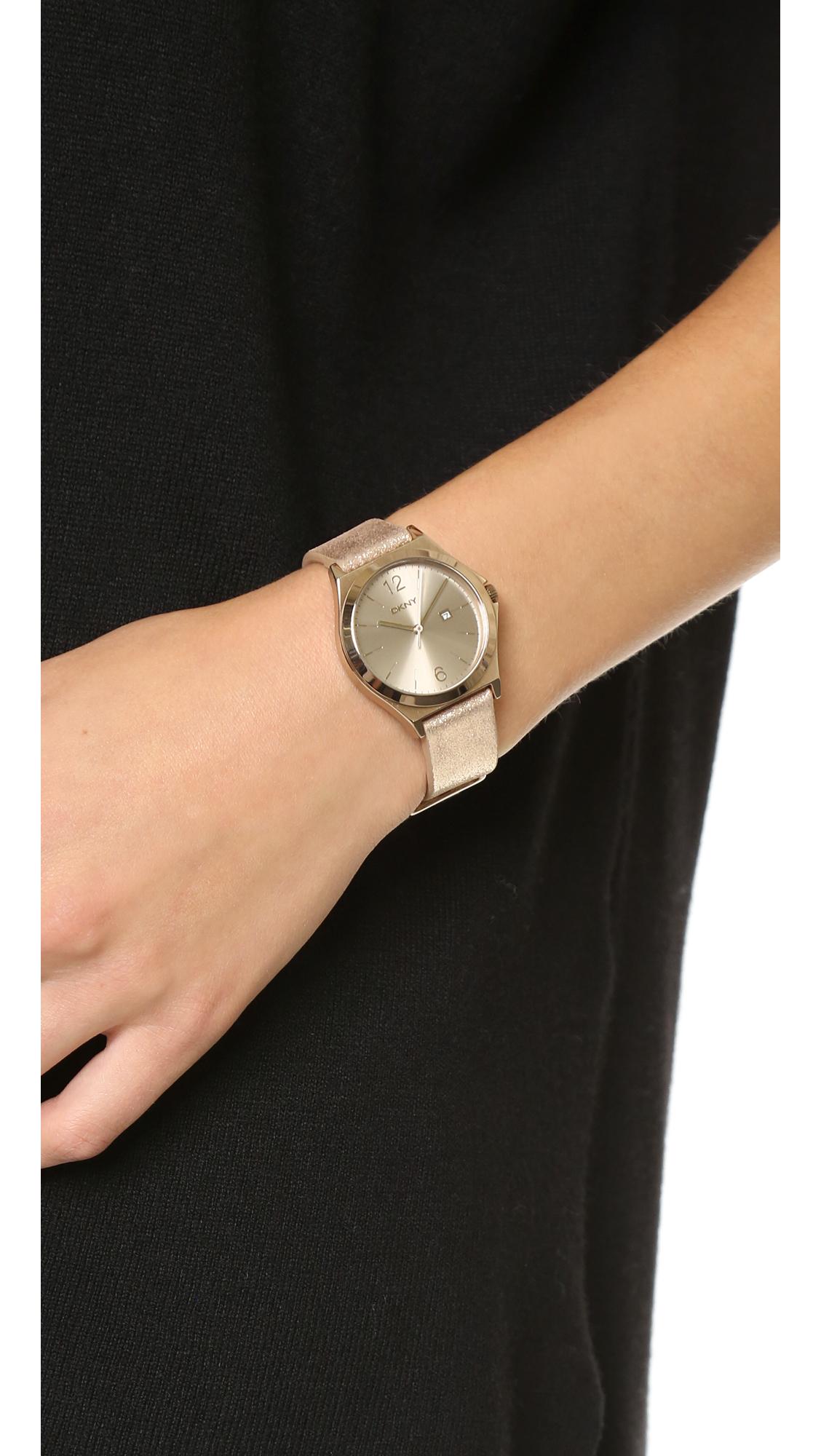 Lyst - Dkny Parsons Watch - Beige/gold in Metallic
