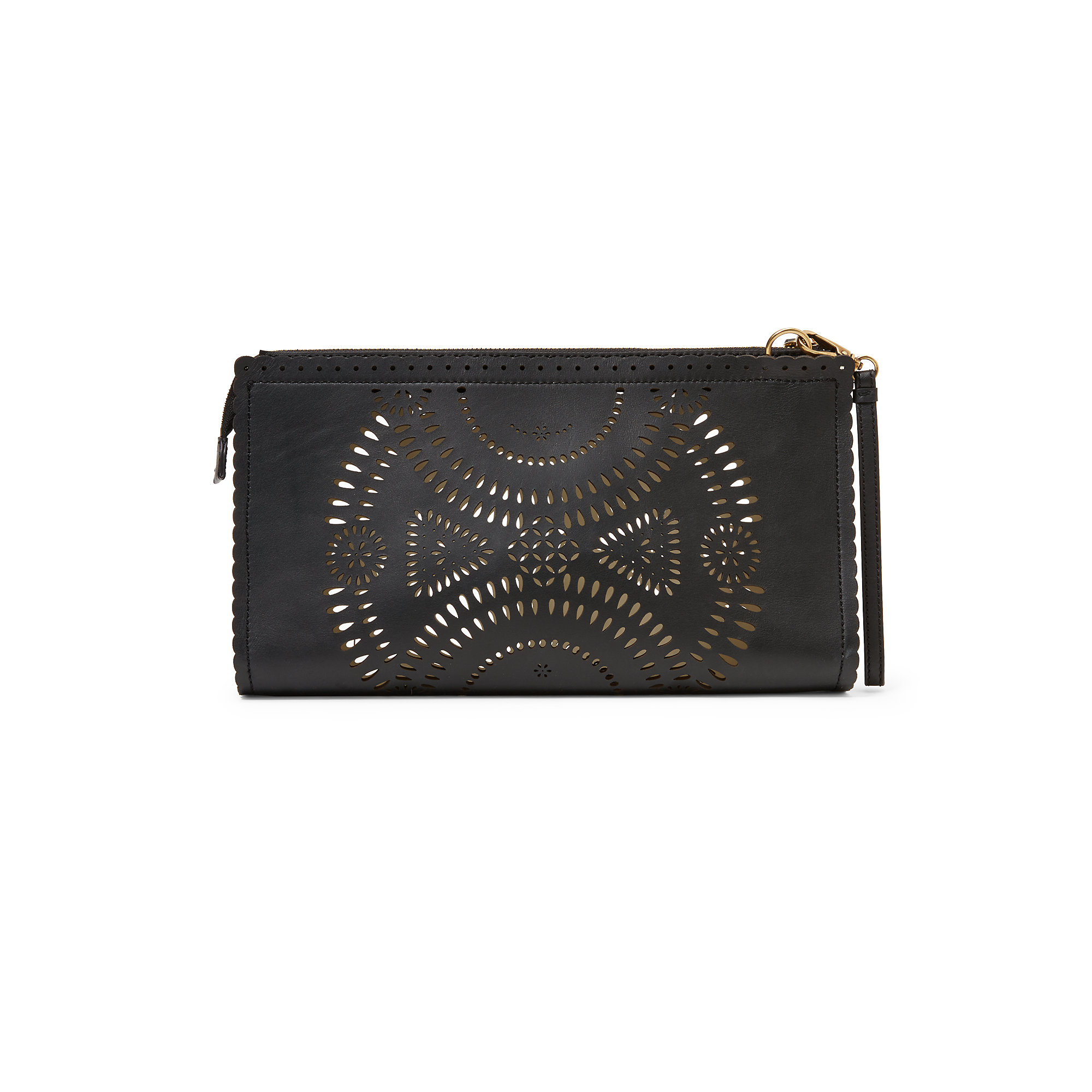 Lyst - Polo Ralph Lauren Laser-cut Leather Clutch in Black 1607bd7d699f1