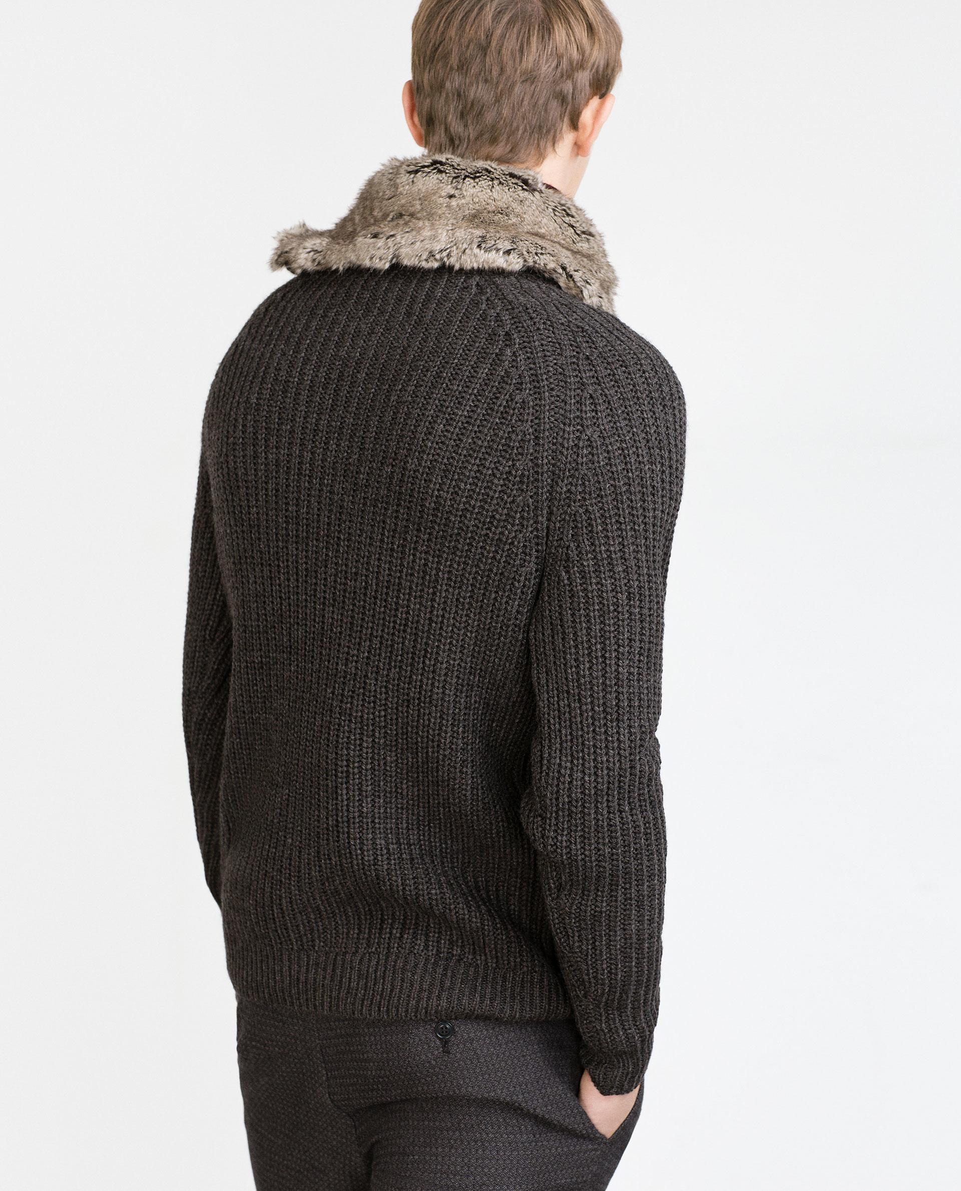 Zara Sweater With Faux Fur Collar In Gray For Men Dark