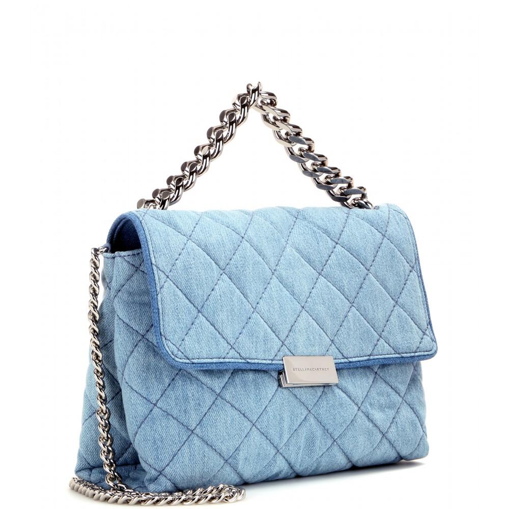 Stella mccartney Soft Beckett Quilted-Denim Shoulder Bag in Blue ... : stella mccartney quilted bag - Adamdwight.com