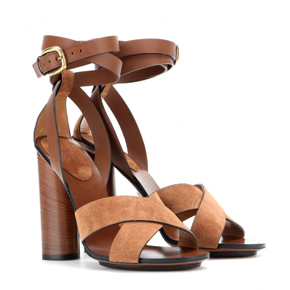 d610f058f9 Gucci Leather And Suede Sandals in Brown - Lyst