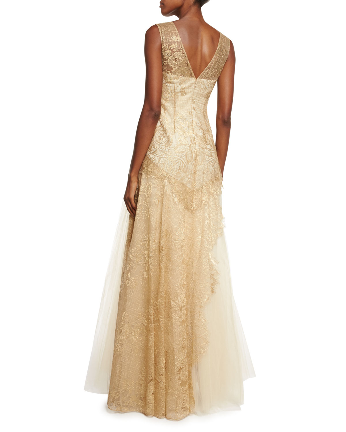 Notte by marchesa Sleeveless Lace bodice Tulle skirt Gown
