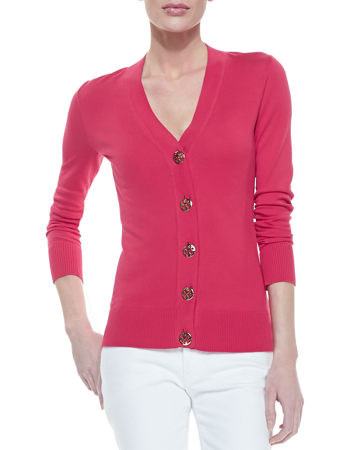 Tory burch Simone Buttondown Cardigan Carnival Pink in Pink | Lyst